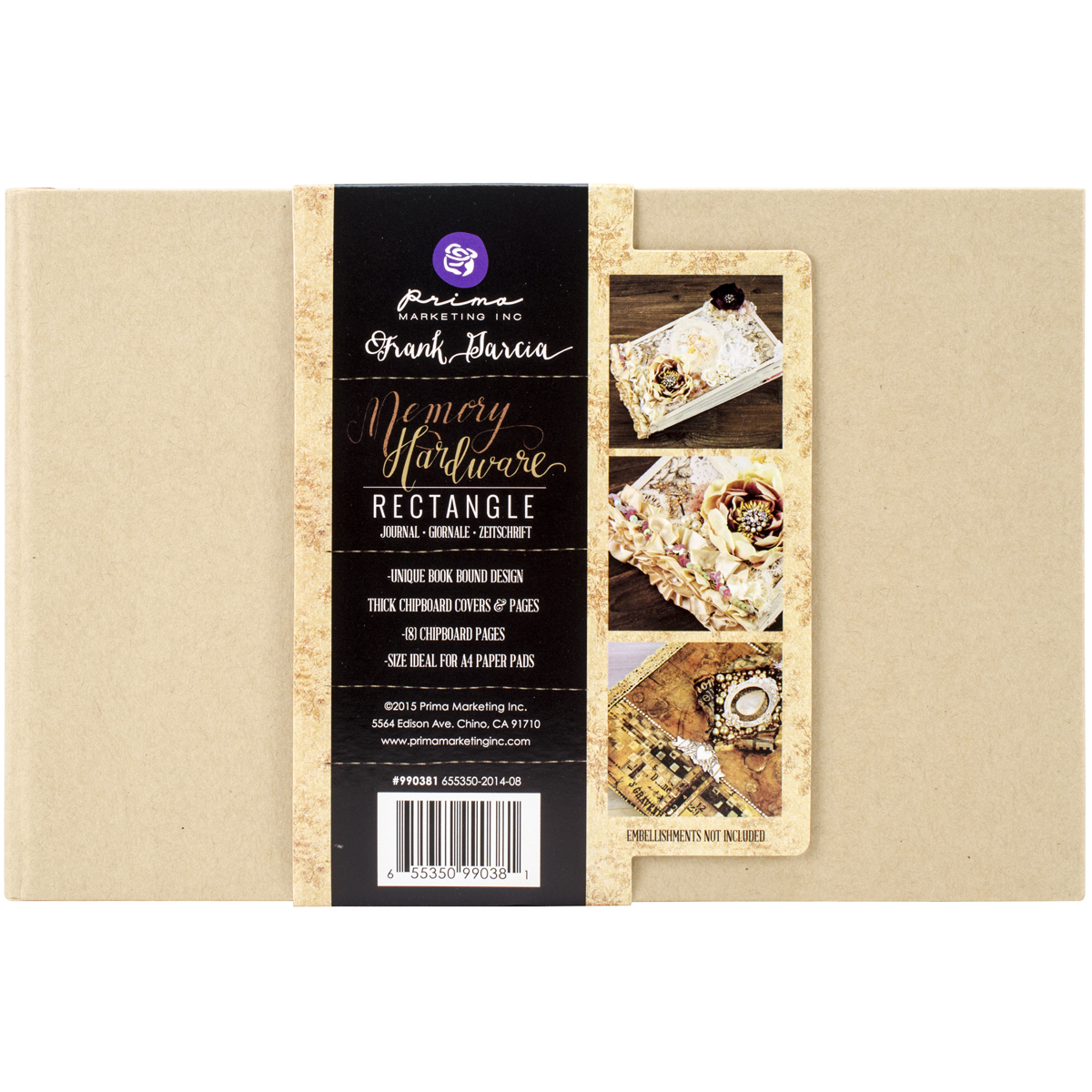 Prima Memory Hardware Chipboard Journal 5.75X8.75-Kraft Rectangle W/8 Pages