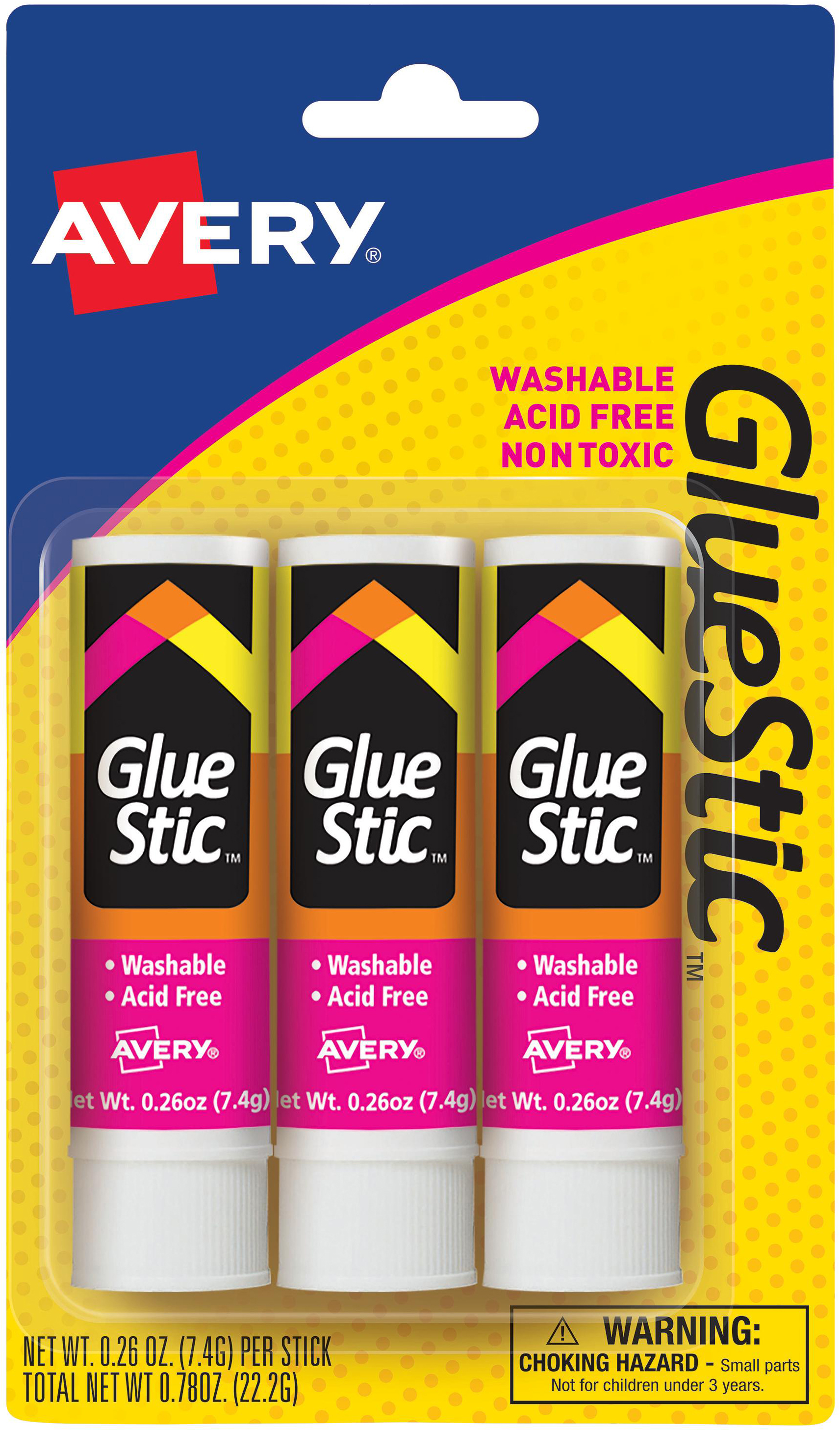 Avery Glue Stick Permanent White .26oz 3pc