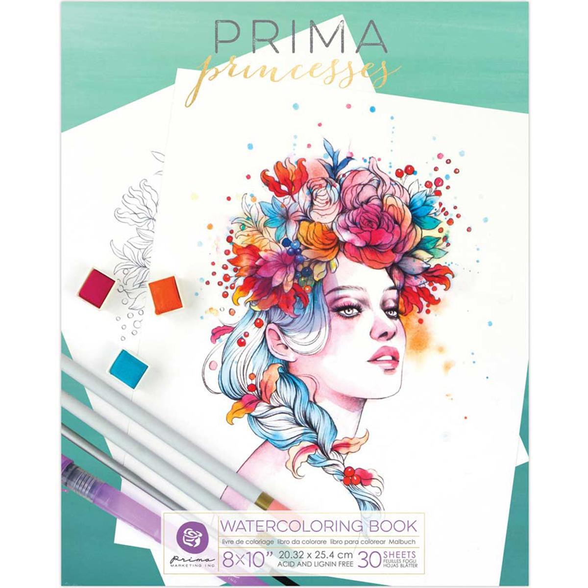 Prima - Watercolor Coloring Book - Princesses 8X10