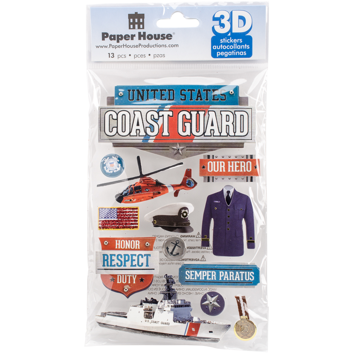Paper House 3D Stickers 4.5X7.5 -Us Coast Guard