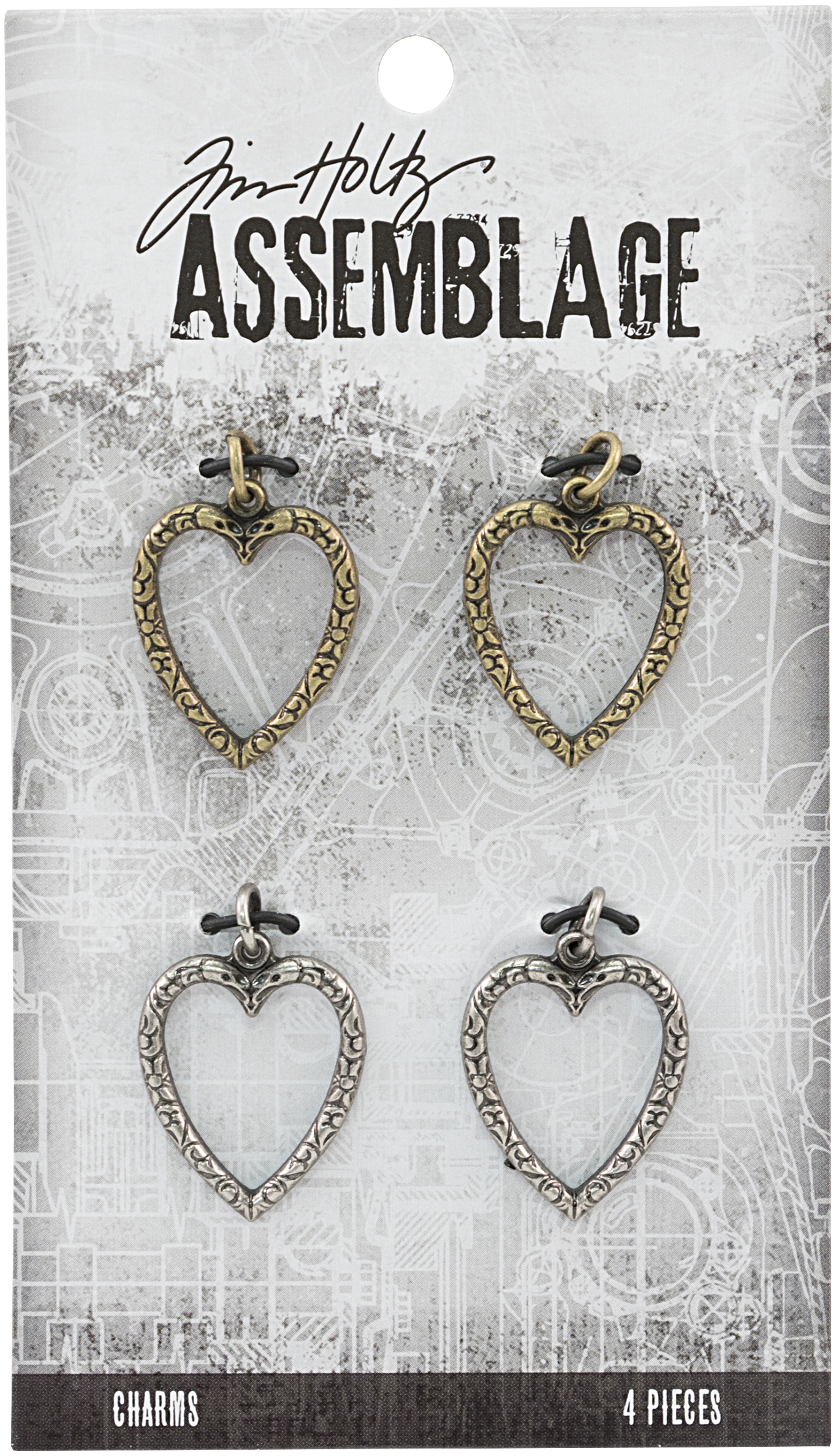 Tim Holtz Assemblage Charms 4/Pkg-Heart Links