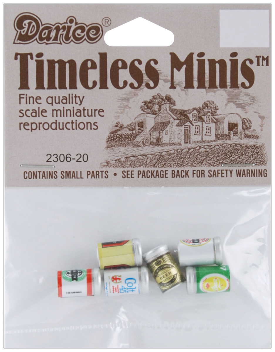 Timeless Miniatures-Assorted Beer Cans 6/Pkg
