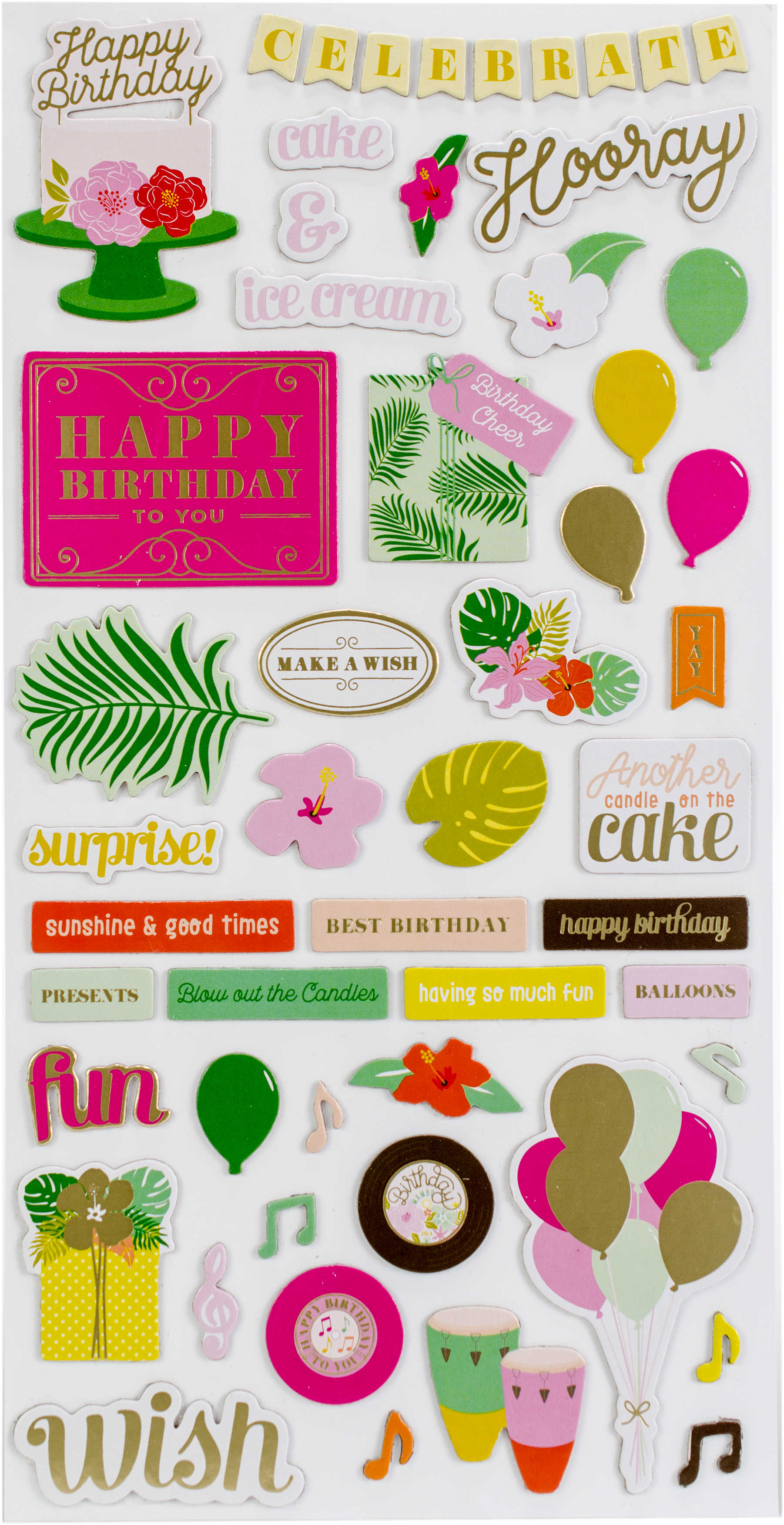 Confetti Wishes Thickers Stickers 5.5X11 89/Pkg-Icons & Words/Gold Foil Accent...