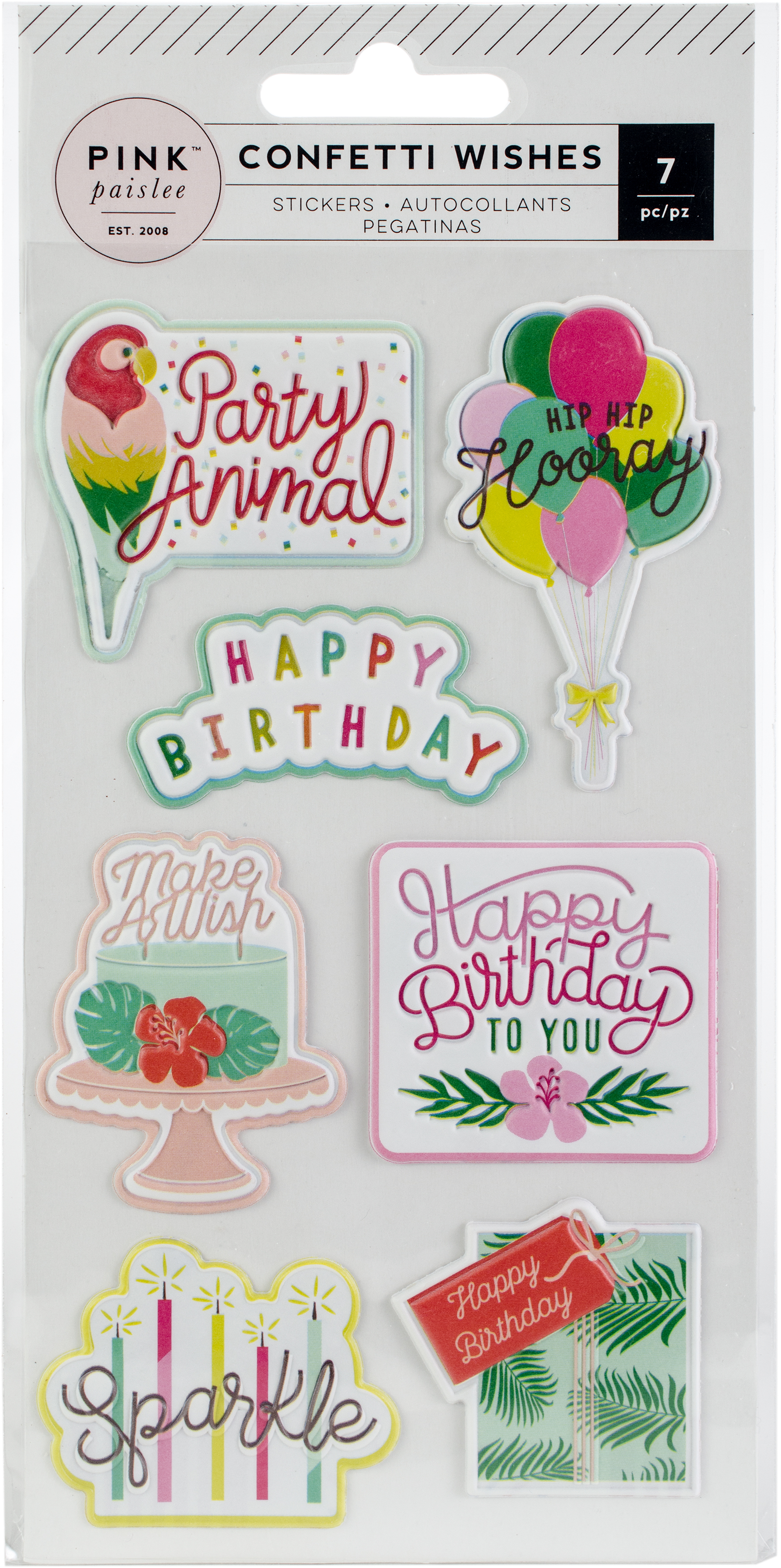 Confetti Wishes Embossed Puffy Stickers-