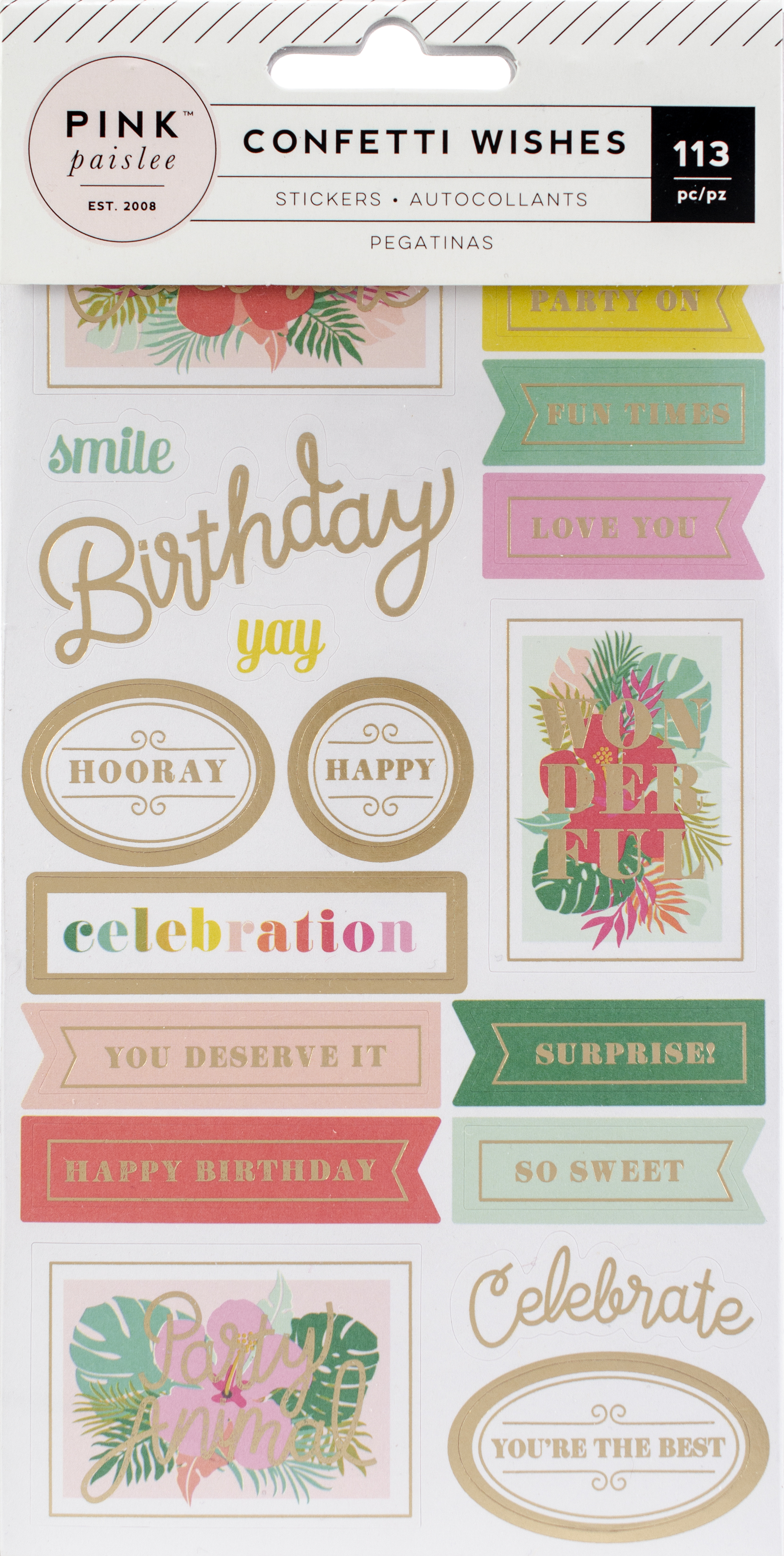 Confetti Wishes 4-Page Sticker Book-W/Matte Gold Foil Accents