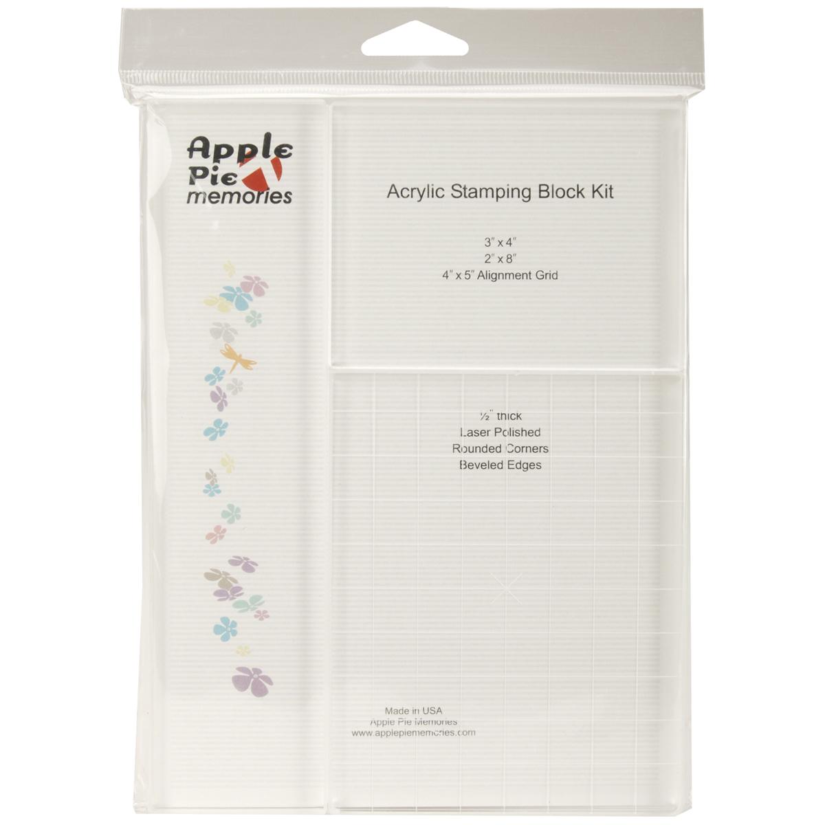 Apple Pie Memories Acrylic Stamp Blocks 3/Pkg - .5 Thick: 2X8, 3X4, 4X5 W/Grid