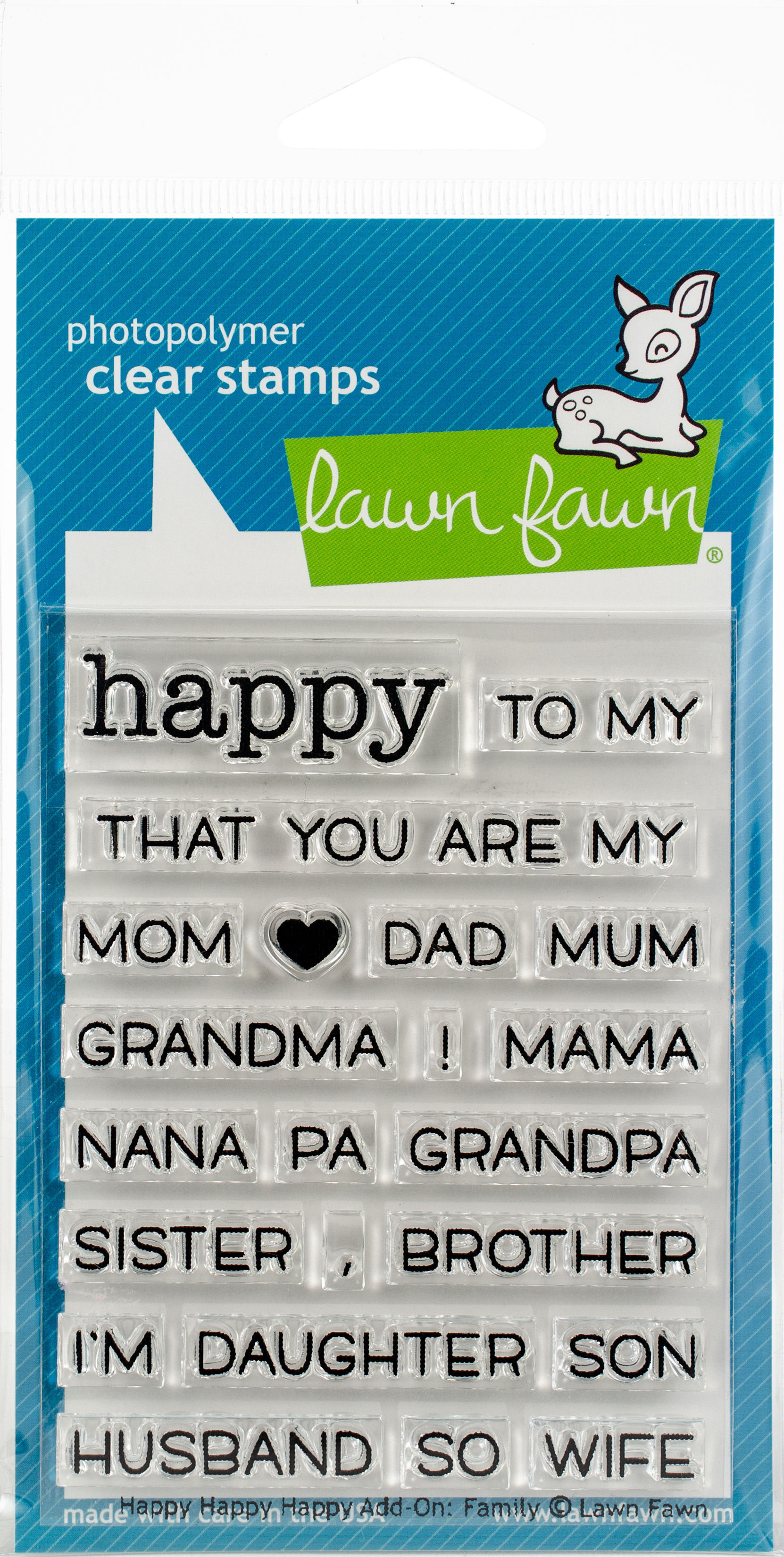 Lawn Fawn Clear Stamps 3X2-Happy Happy Happy Add-On: Family