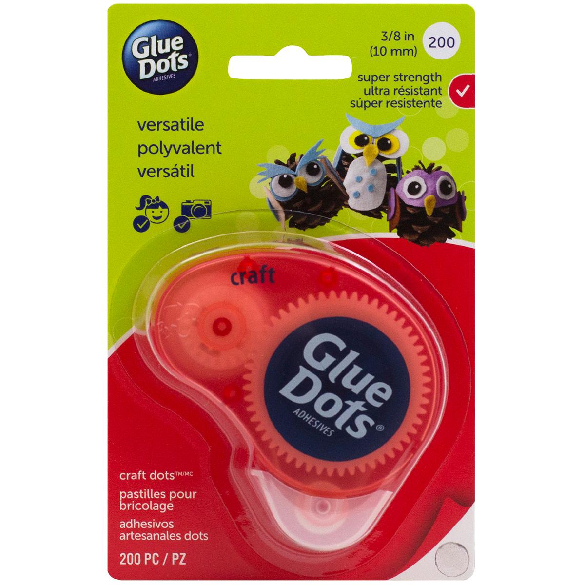 Glue Dots Clear Dot Disposable Dispenser-Craft .375 200/Pkg