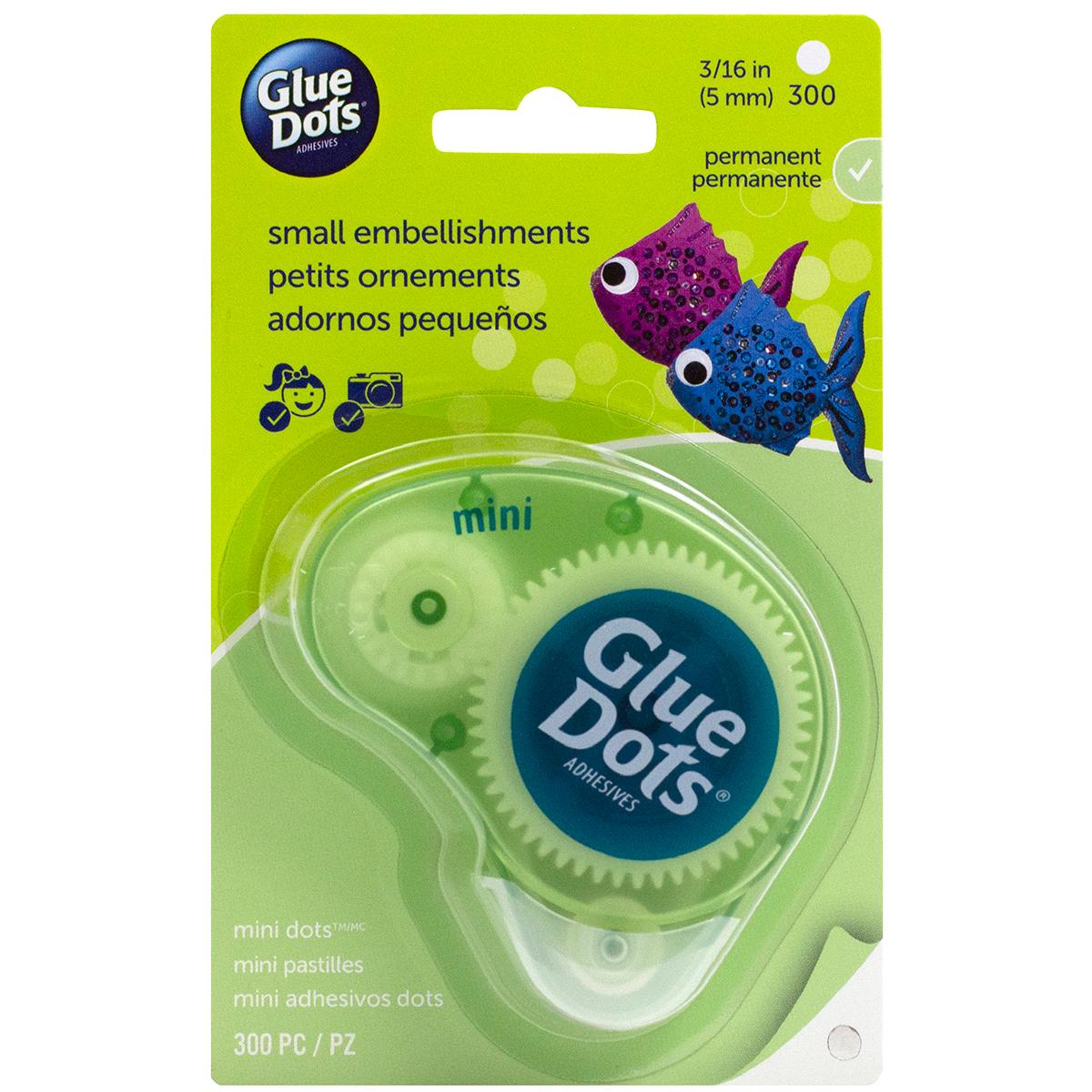 Glue Dots Clear Dot Disposable Dispenser-Mini .1875 300/Pkg