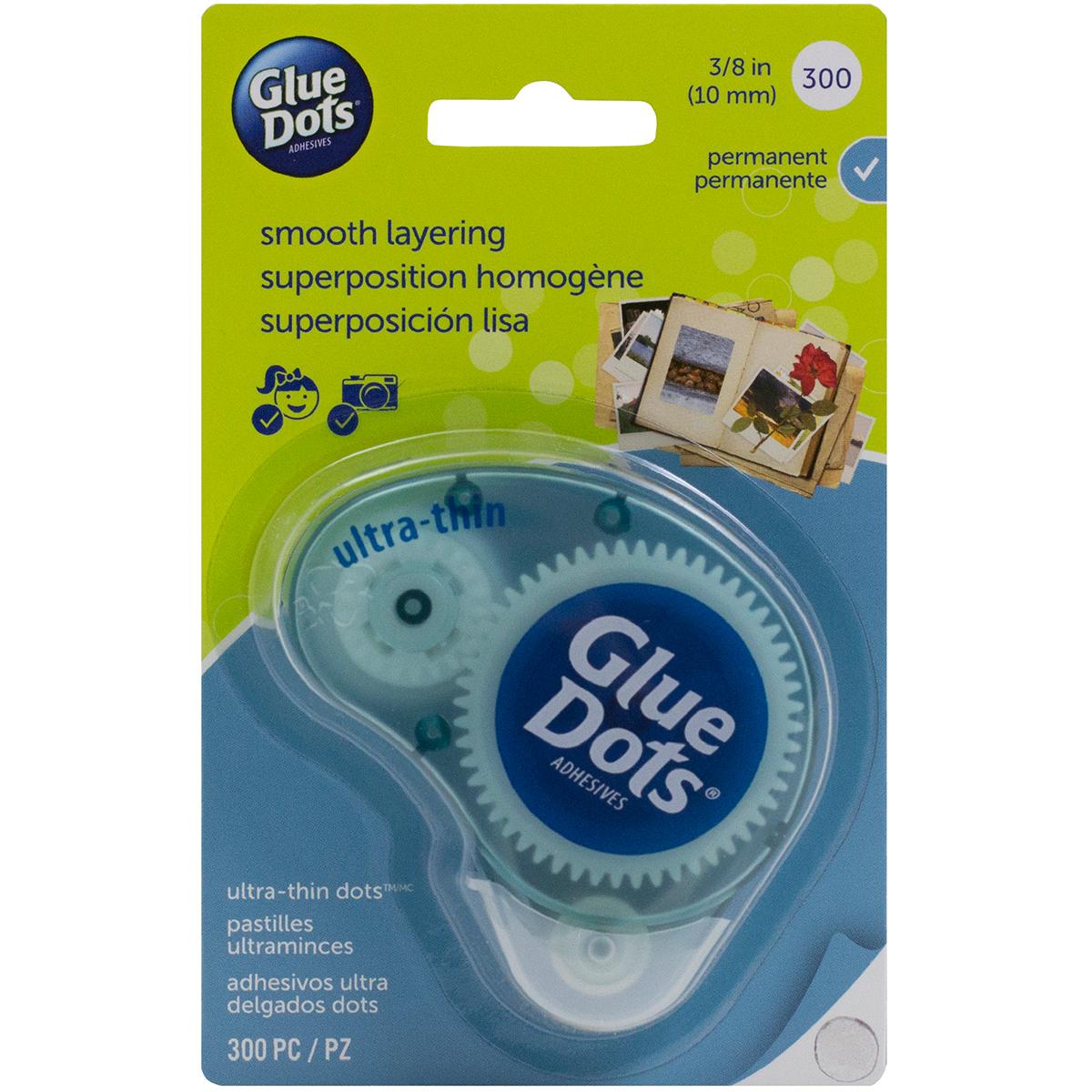 Glue Dots Clear Dot Disposable Dispenser-Ultra Thin .375 300/Pkg