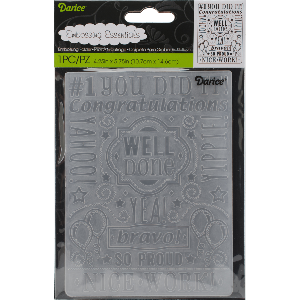 Embossing Folder 4.25X5.75-Congrats Collage