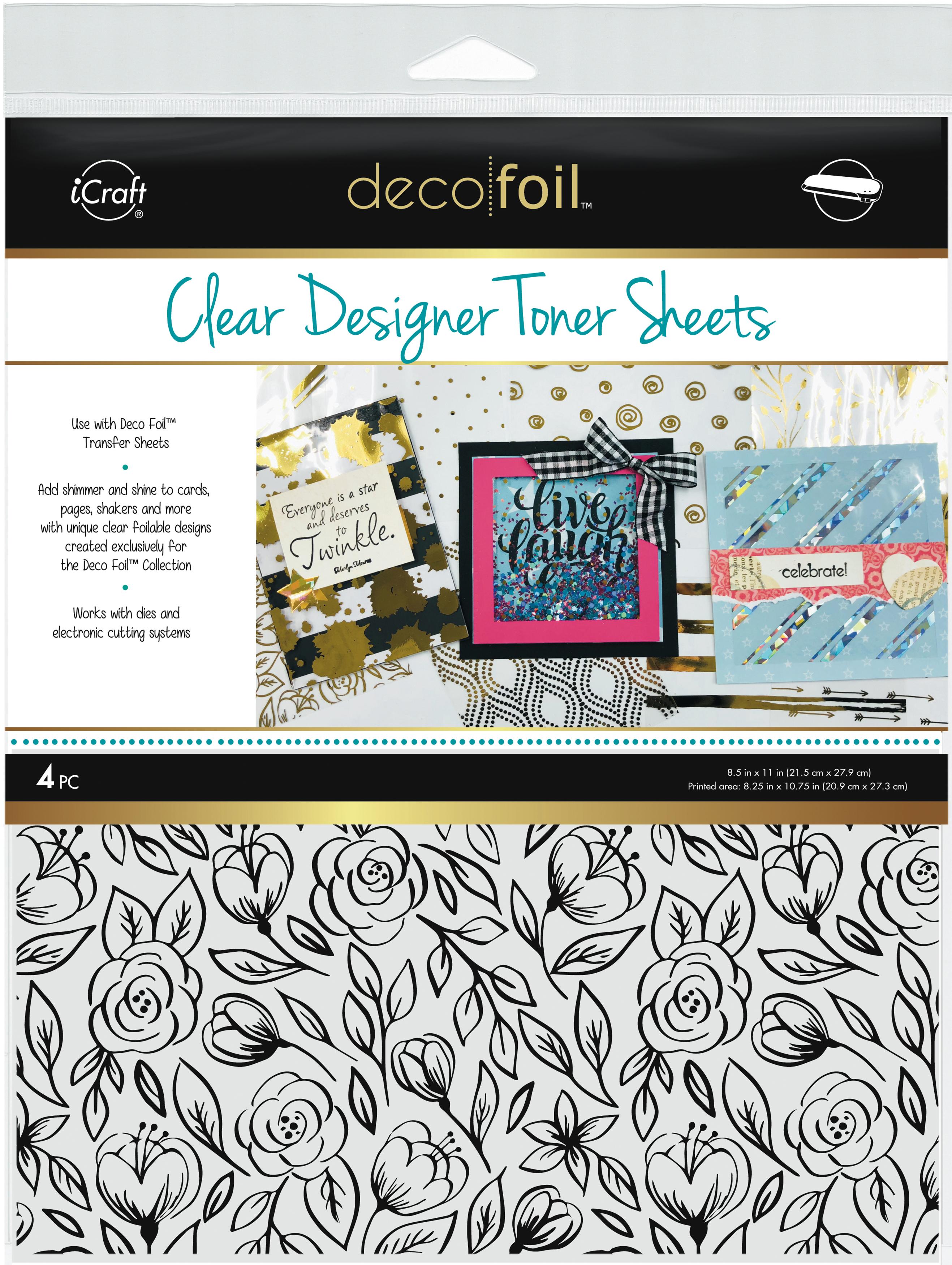 Deco Foil Clear Toner Sheets - Floral Sketch, 4/Pk