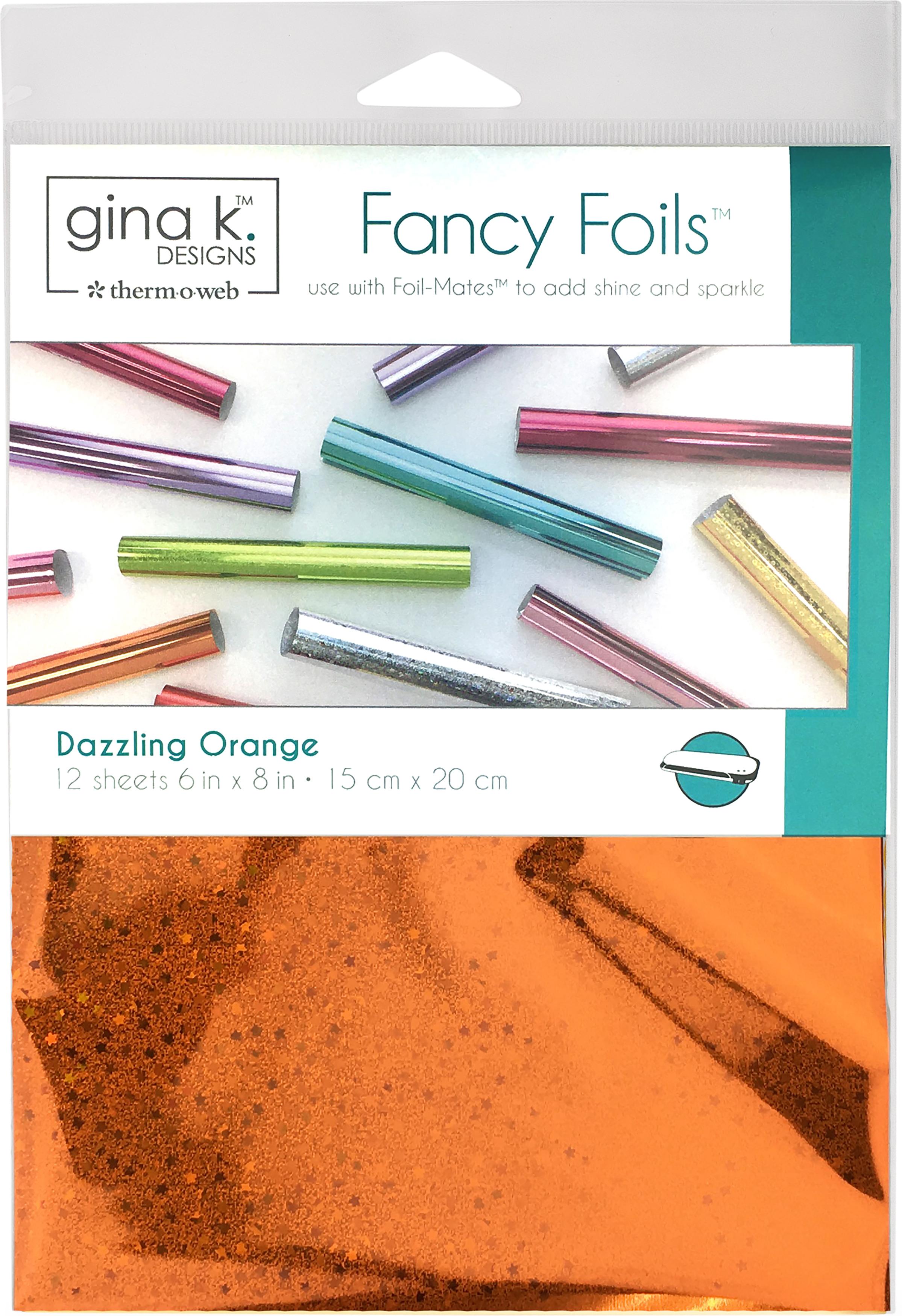 Gina K Designs Fancy Foil 6X8 12/Pkg-Dazzling Orange Holographic