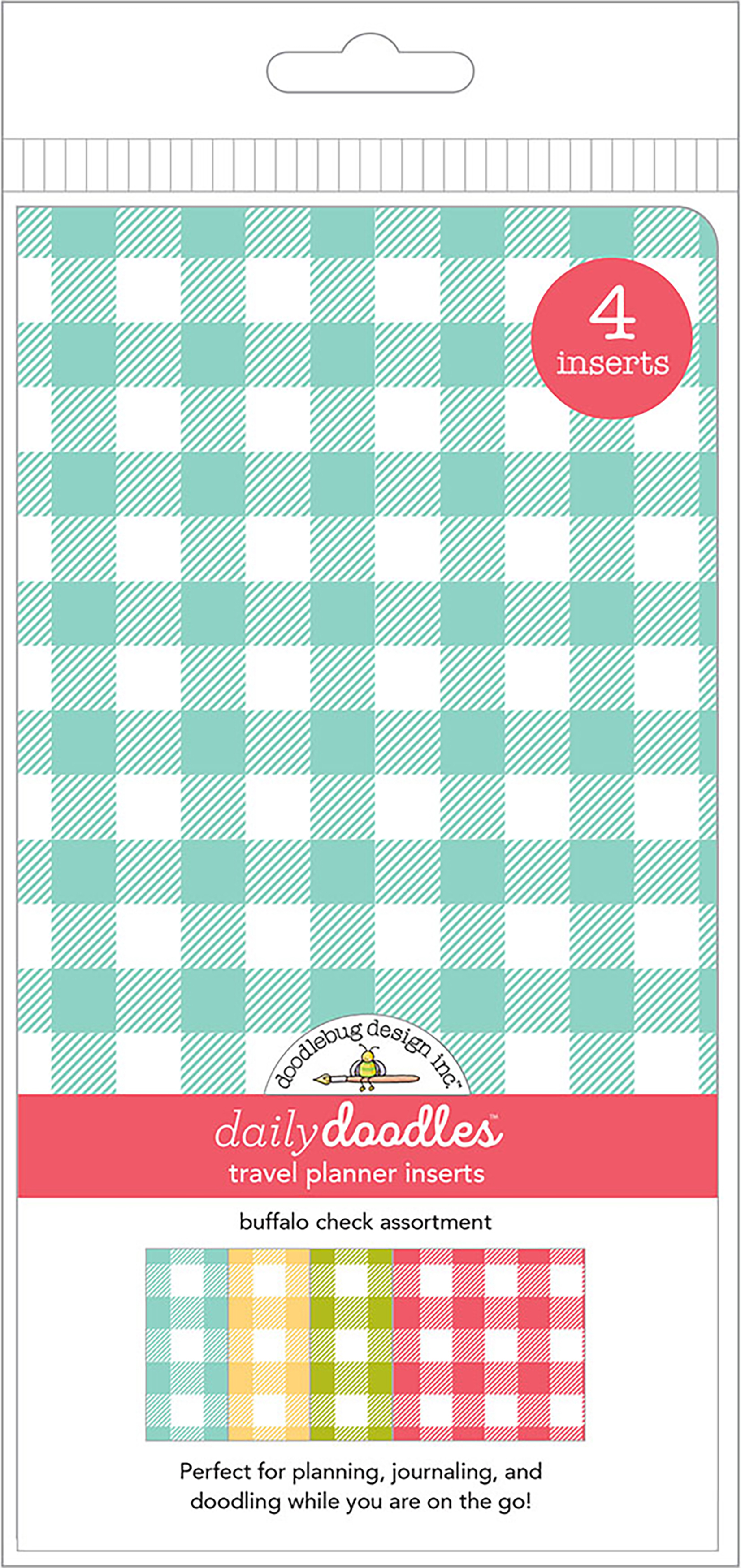 Doodlebug Daily Doodles - Buffalo Check Travel Planner Inserts, 4/Pack