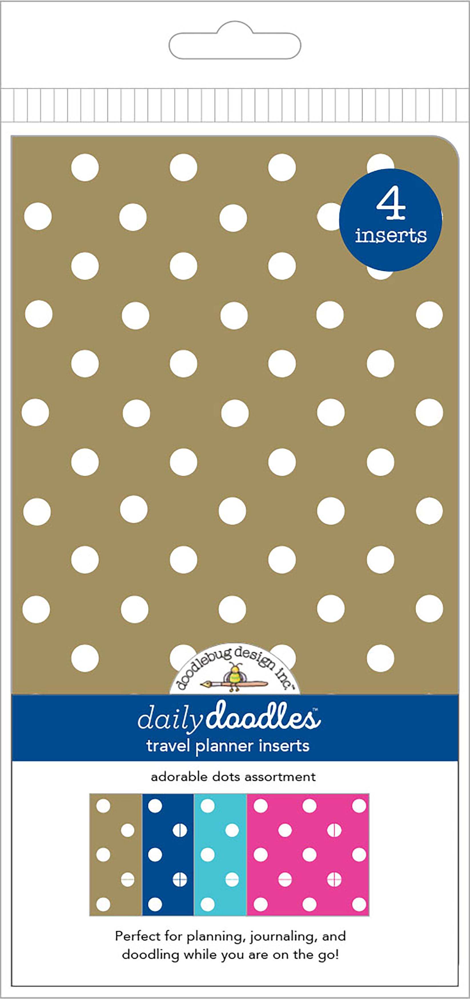 Doodlebug Daily Doodles - Adorable Dots Travel Planner Inserts, 4/Pack