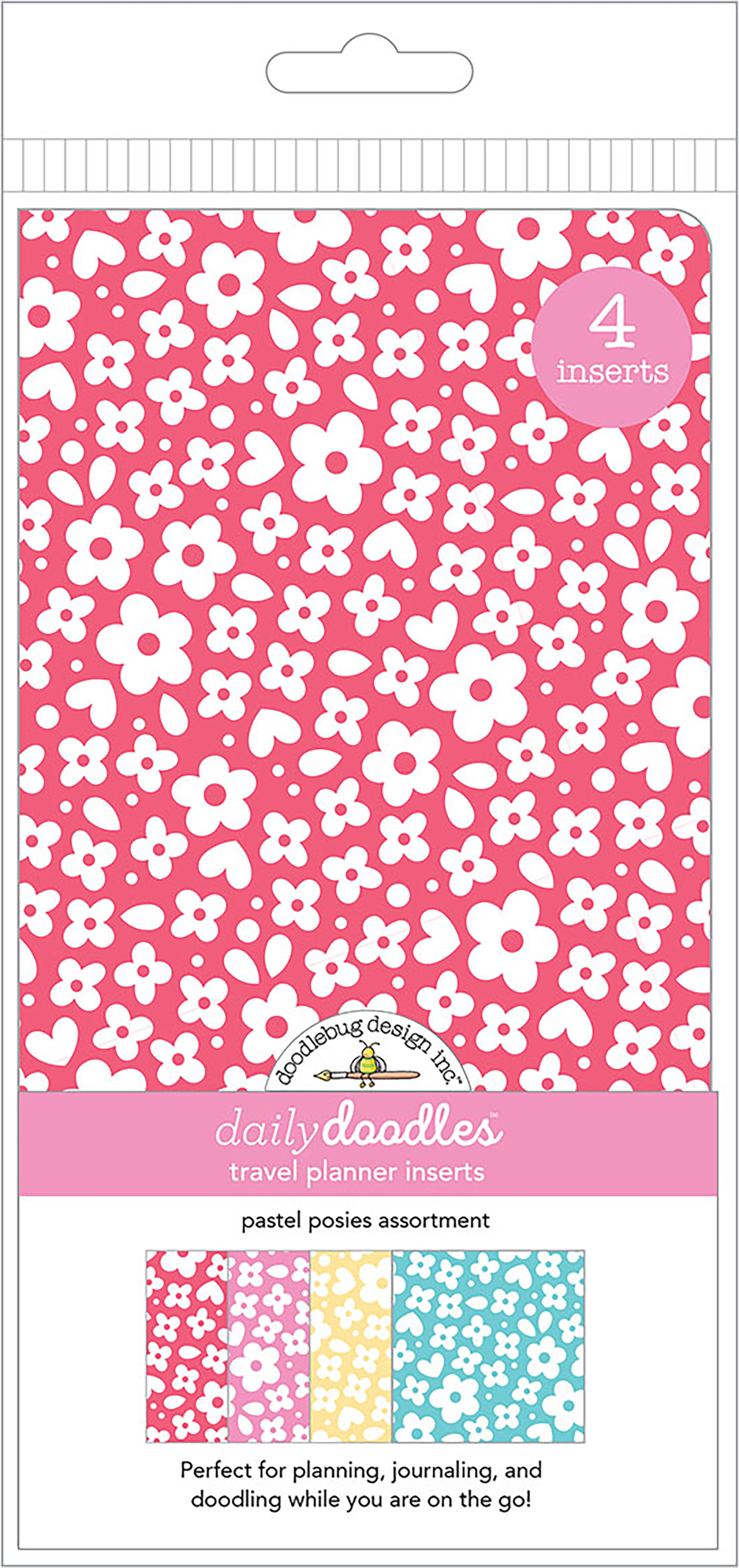 Doodlebug Daily Doodles - Pastel Posies Travel Planner Inserts, 4/Pack