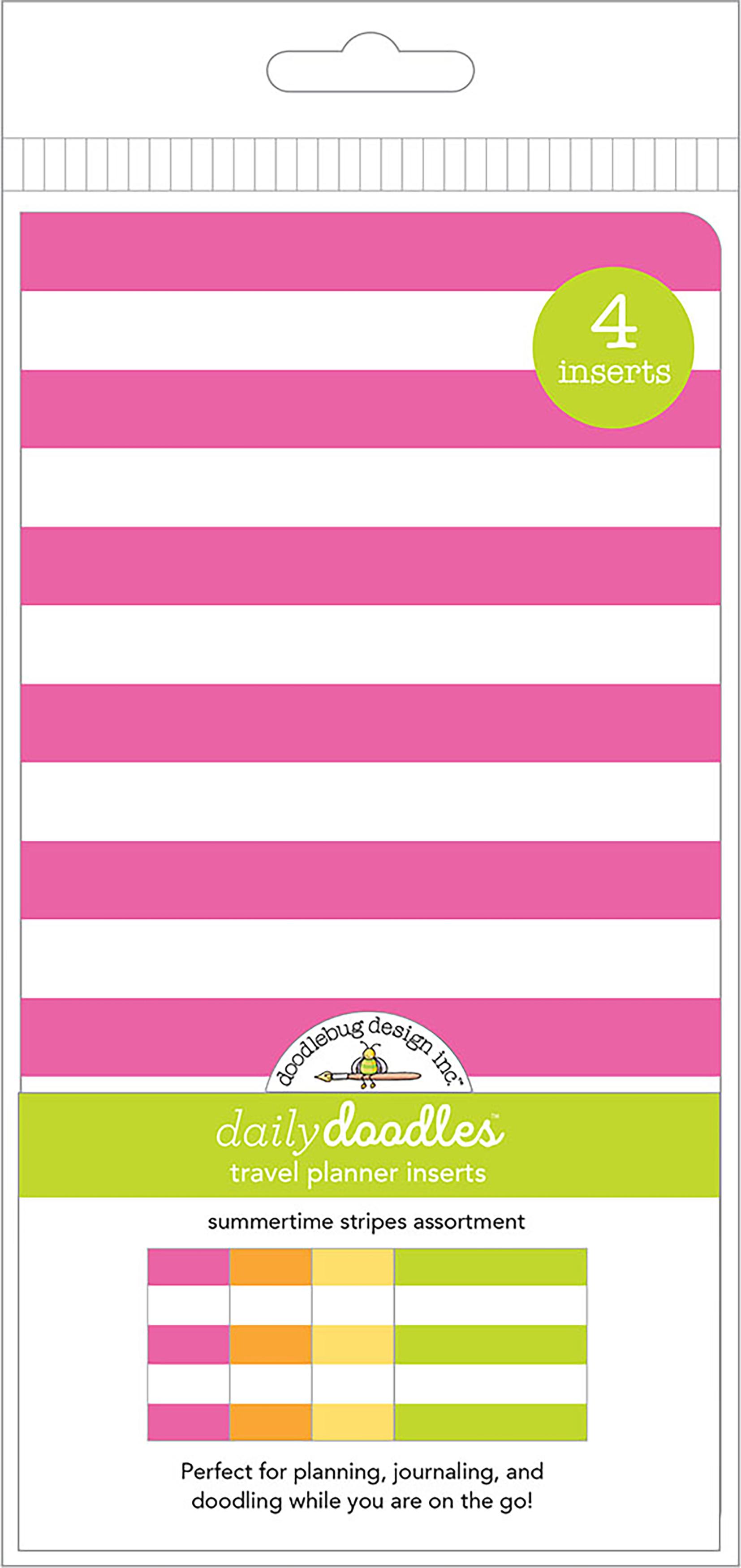 Doodlebug Daily Doodles - Summertime Stripes Travel Planner Inserts, 4/Pack