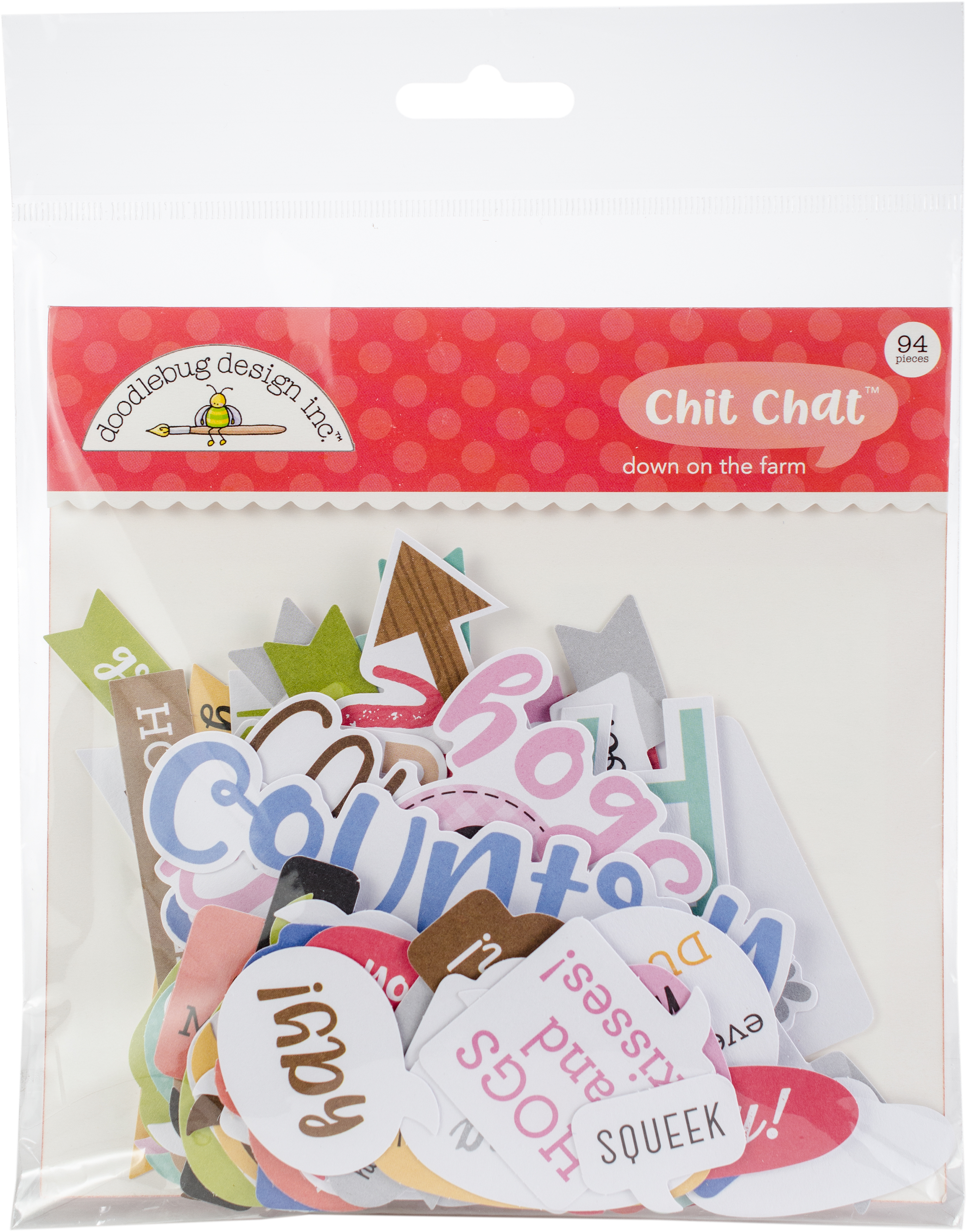 Doodlebug Odds & Ends Chit Chat Die-Cuts  -Down On The Farm, 94/Pkg