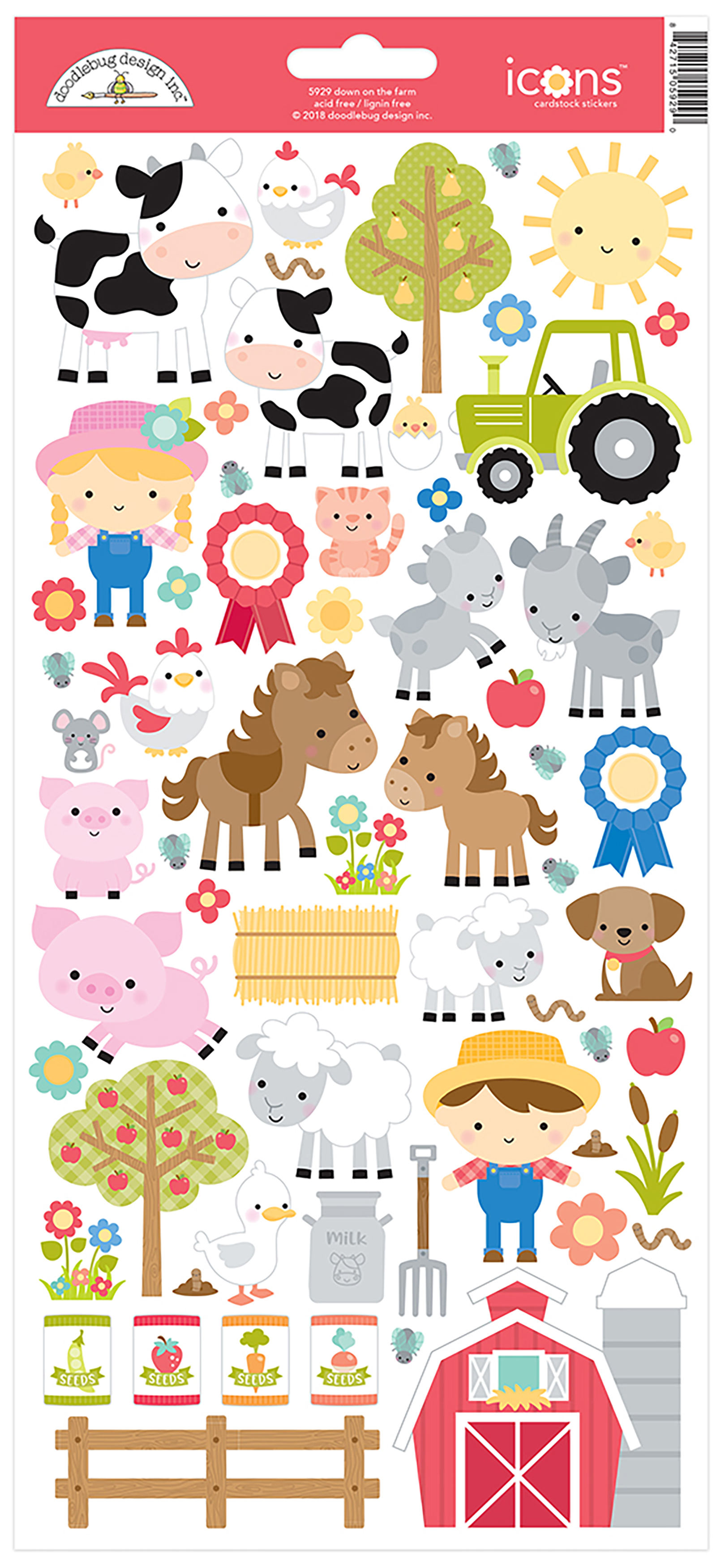 Doodlebug Cardstock Stickers 6X13-Down On The Farm Icons