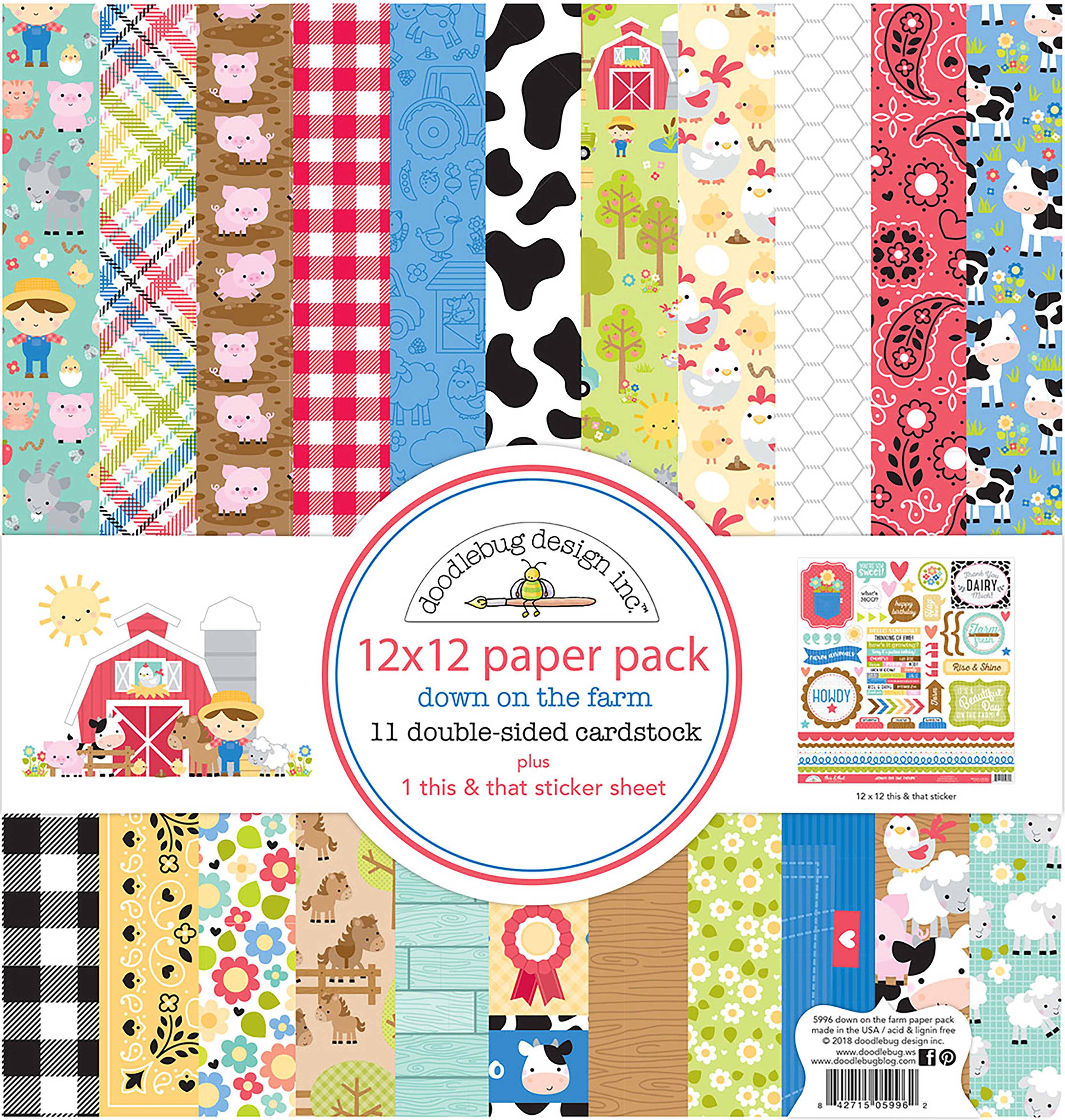 Doodlebug Double-Sided Paper Pack 12X12 12/Pkg-Down On The Farm