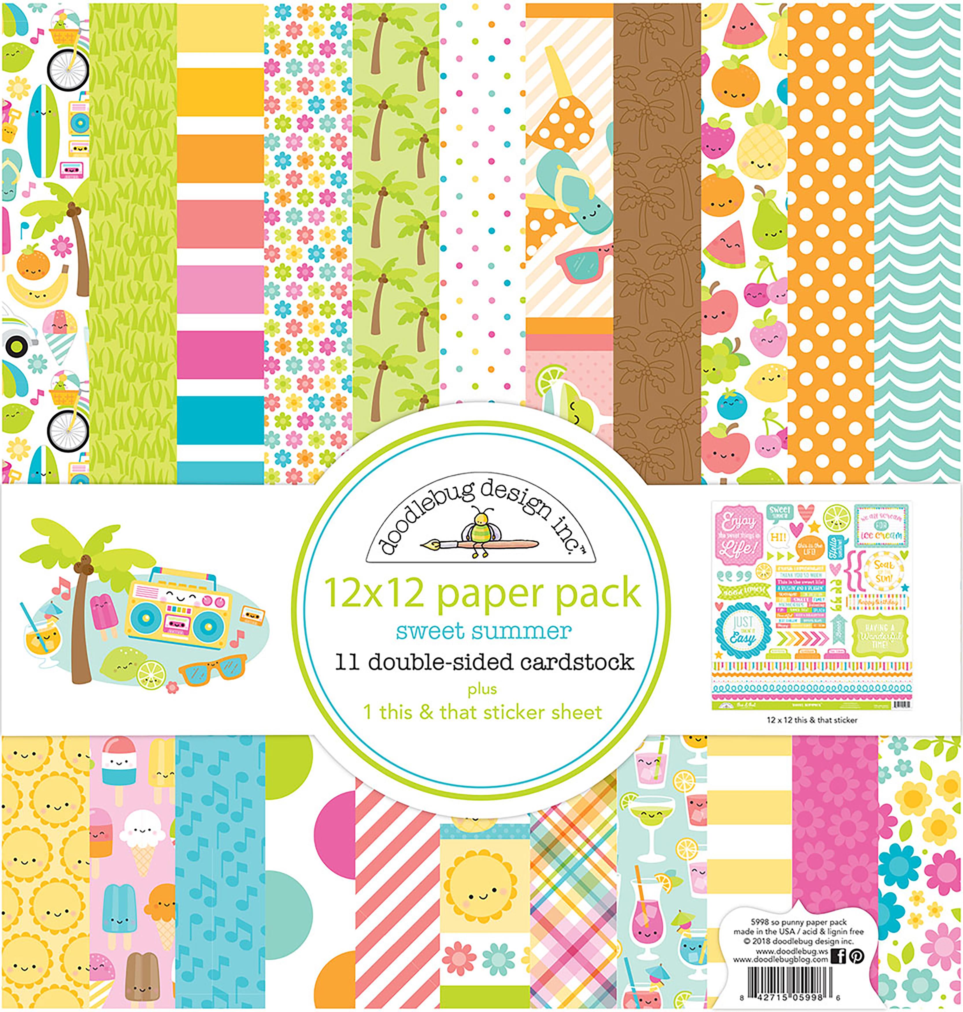 Doodlebug Double-Sided Paper Pack 12X12 12/Pkg-Sweet Summer