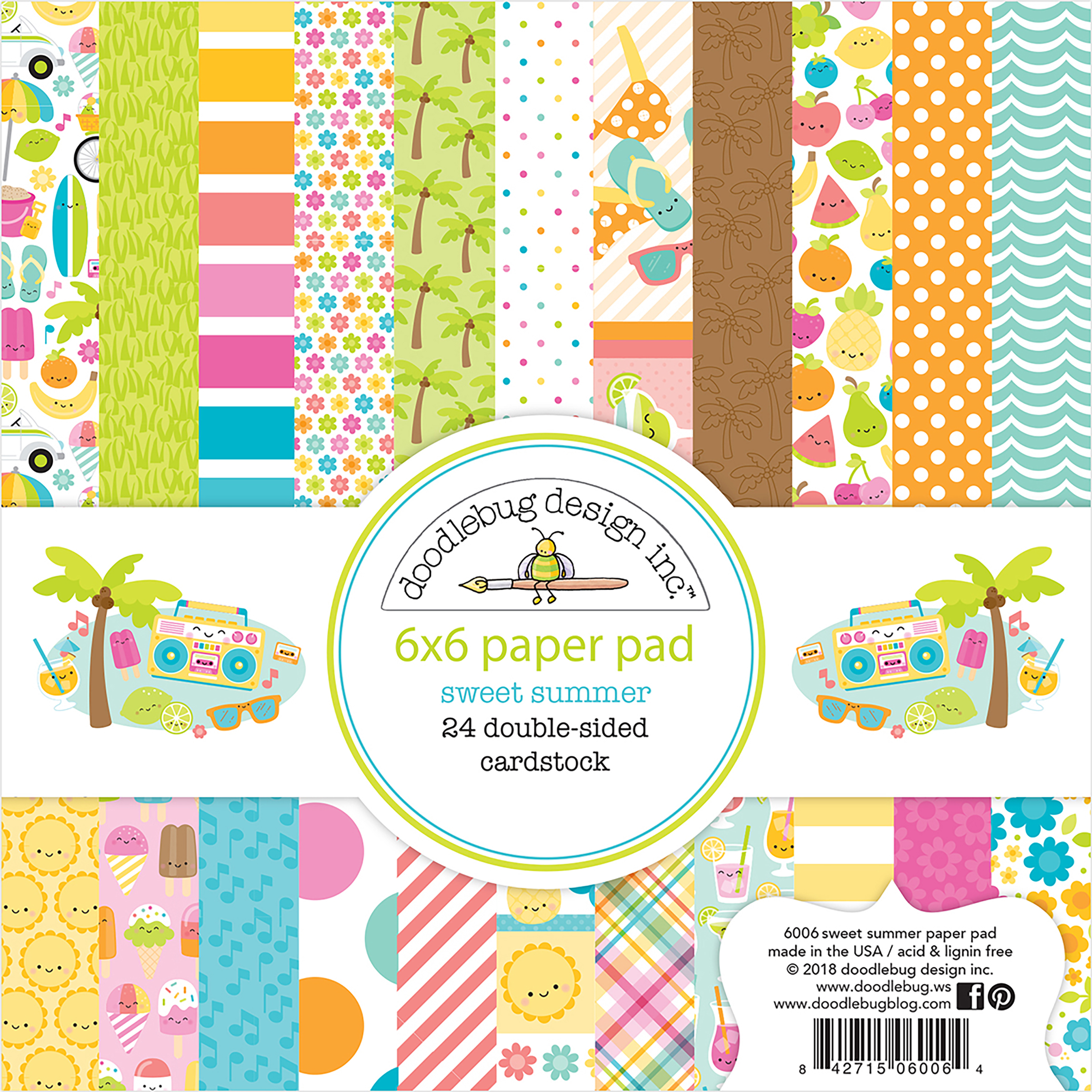 Doodlebug Double-Sided Paper Pad 6X6 24/Pkg-Sweet Summer, 12 Designs/2 Each