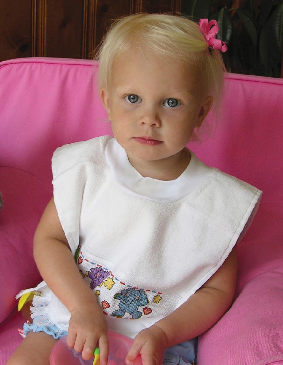 Charles Craft Velour Toddler Pullover Bib 14 Count 12X19.5-White