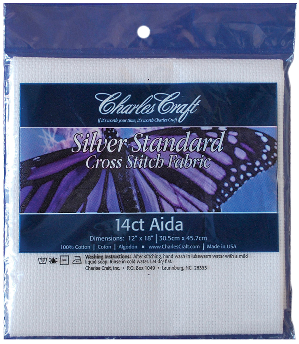 Charles Craft Silver Label Aida 14 Count 12X18-White