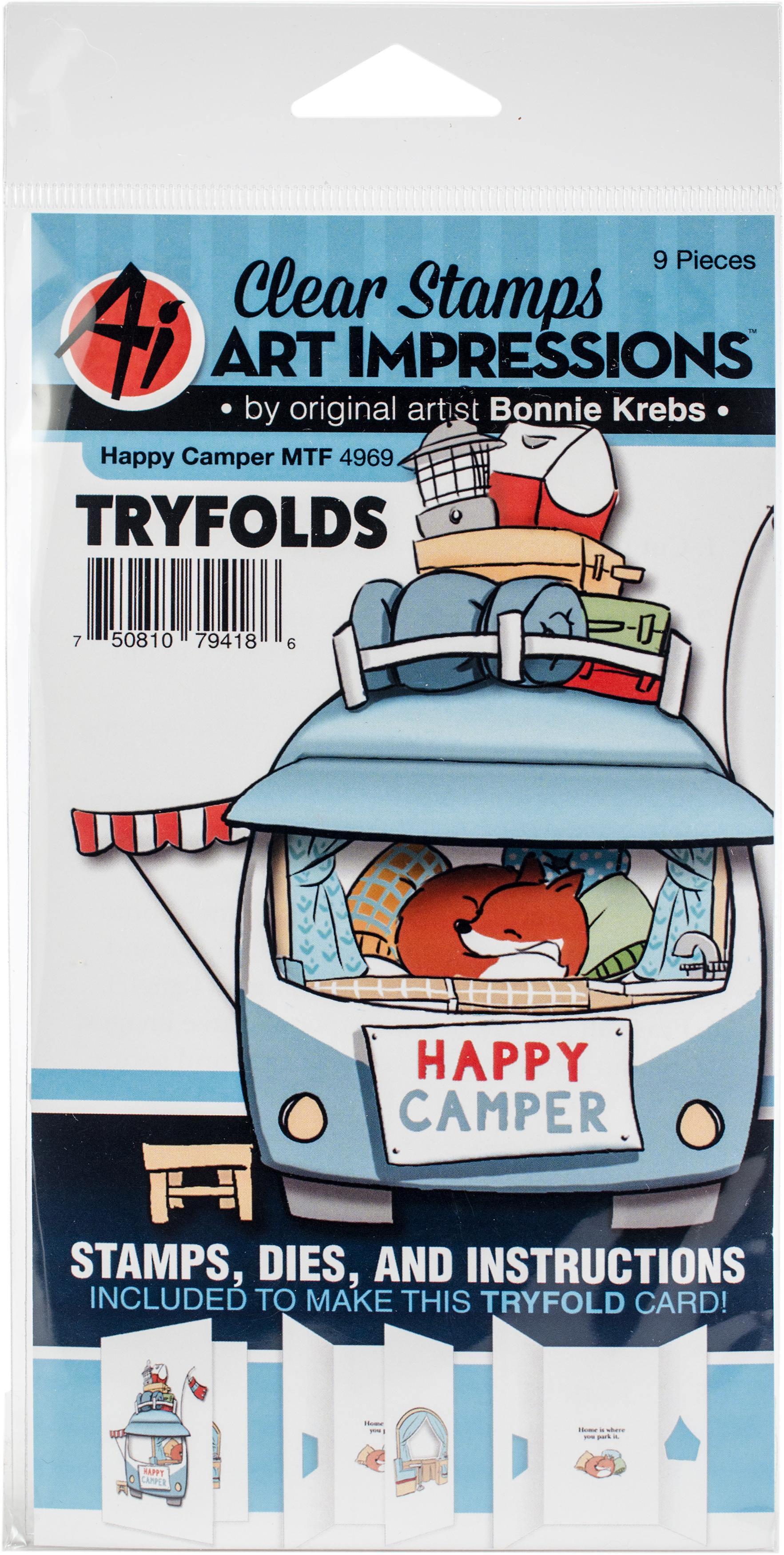 Art Impressions Mini TryFolds Stamp & Die Set-Happy Camper