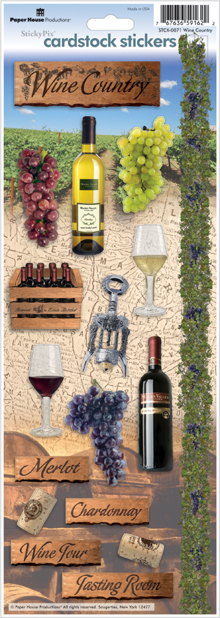 CARDSTOCK STICKERS-WINE CNTRY