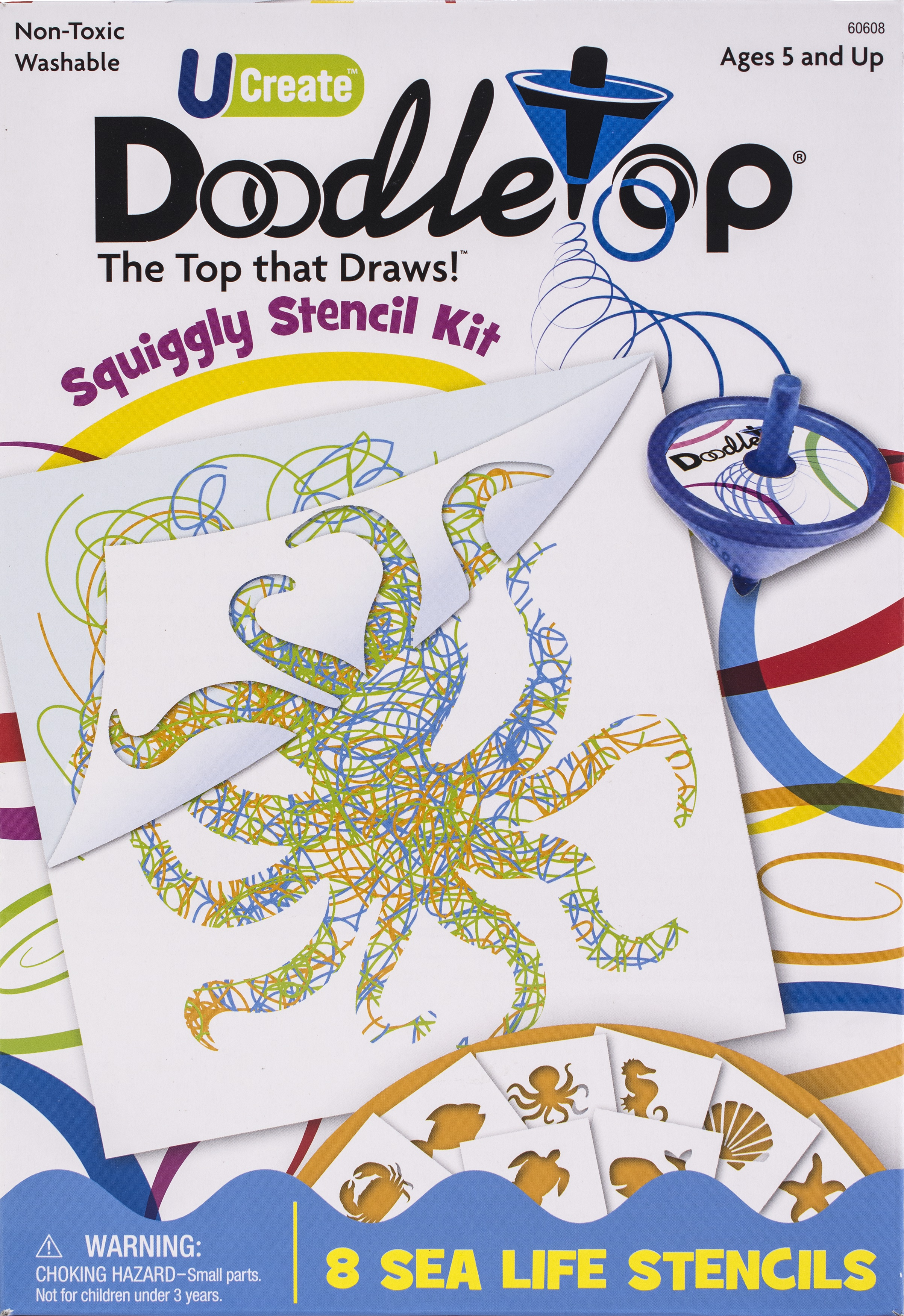 UCreate Doodletop Squiggly Stencil Kit-Sea Life