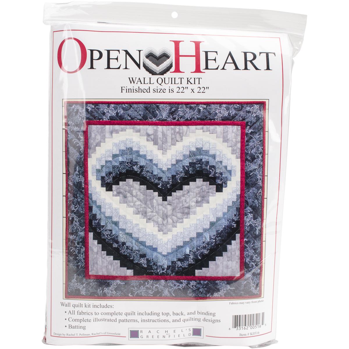 Rachel's Of Greenfield Wall Quilt Kit 22X22-Open Heart