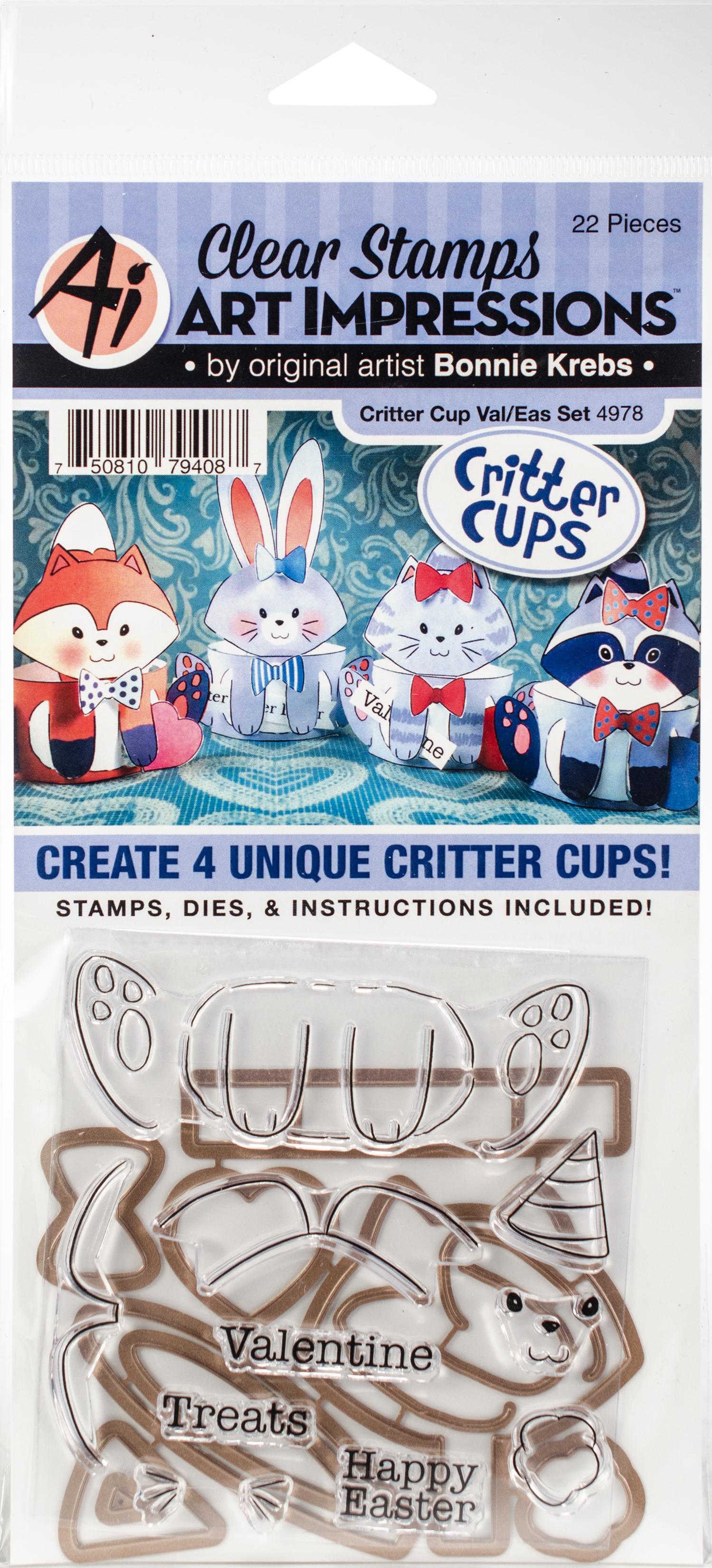 Art Impressions Critter Cups Stamp & Die Set-Valentines & Easter