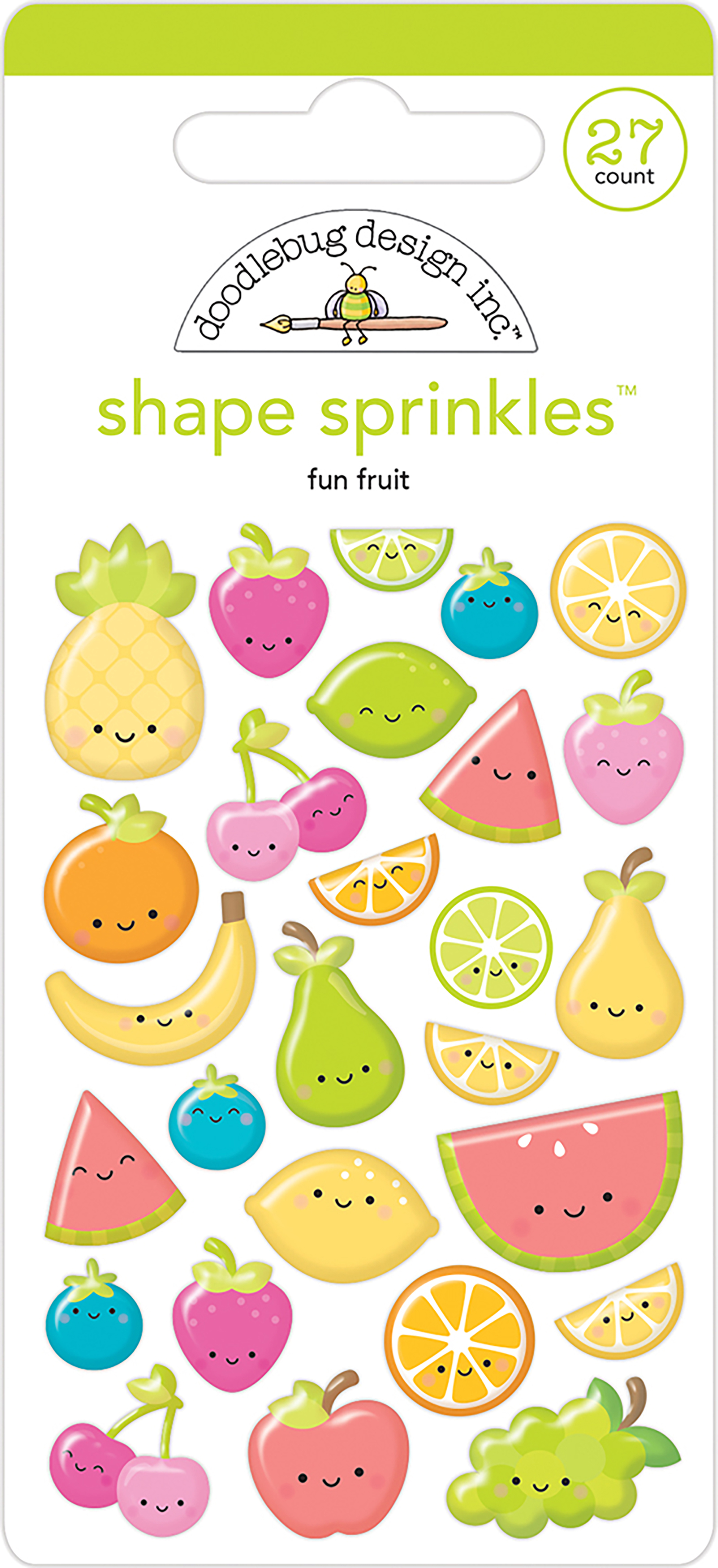 Doodlebug Sprinkles Adhesive Glossy Enamel Shapes  -Fun Fruit, 27/Pkg