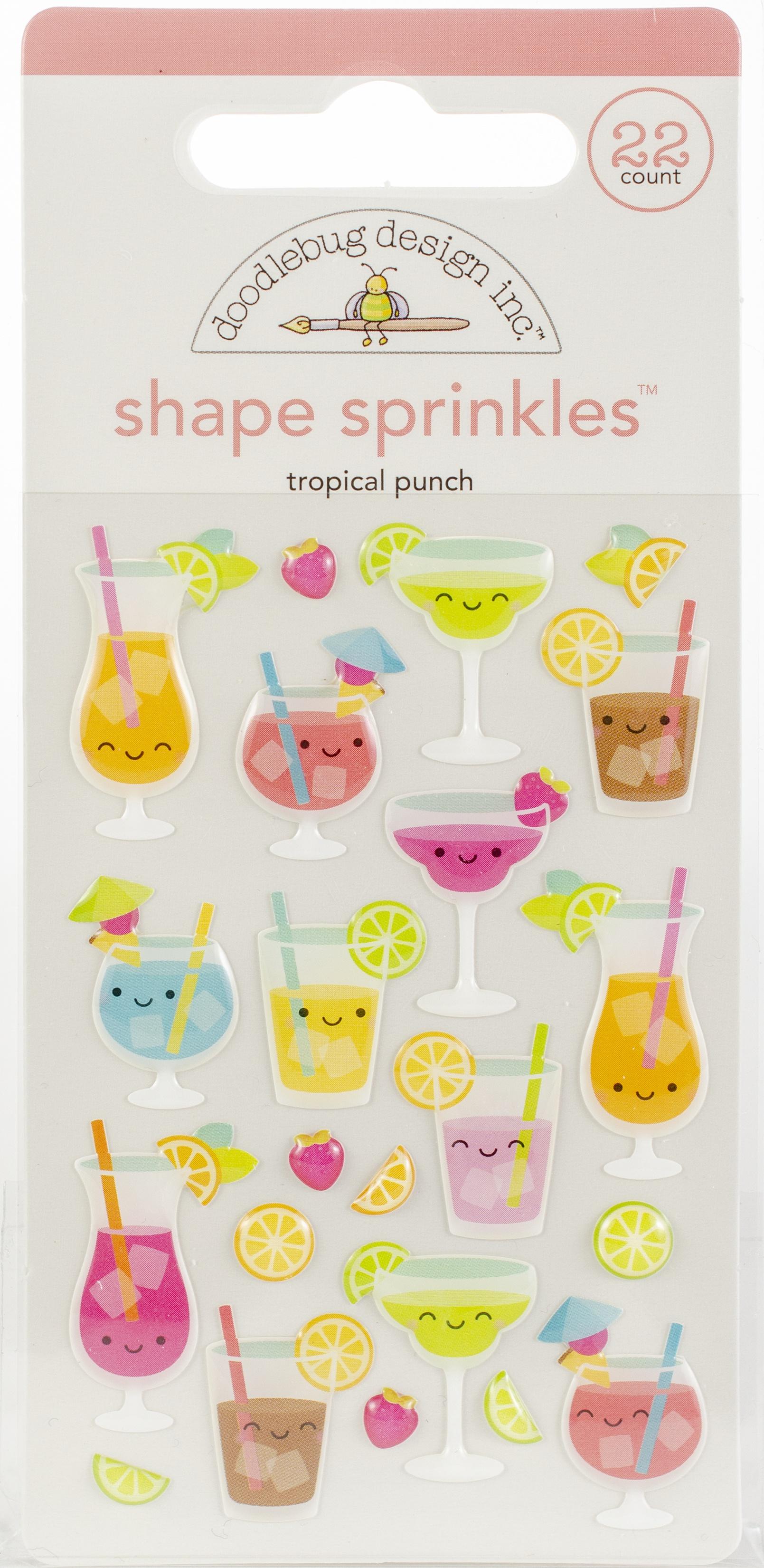 Doodlebug Sprinkles Adhesive Glossy Enamel Shapes  -Tropical Punch 22/Pkg