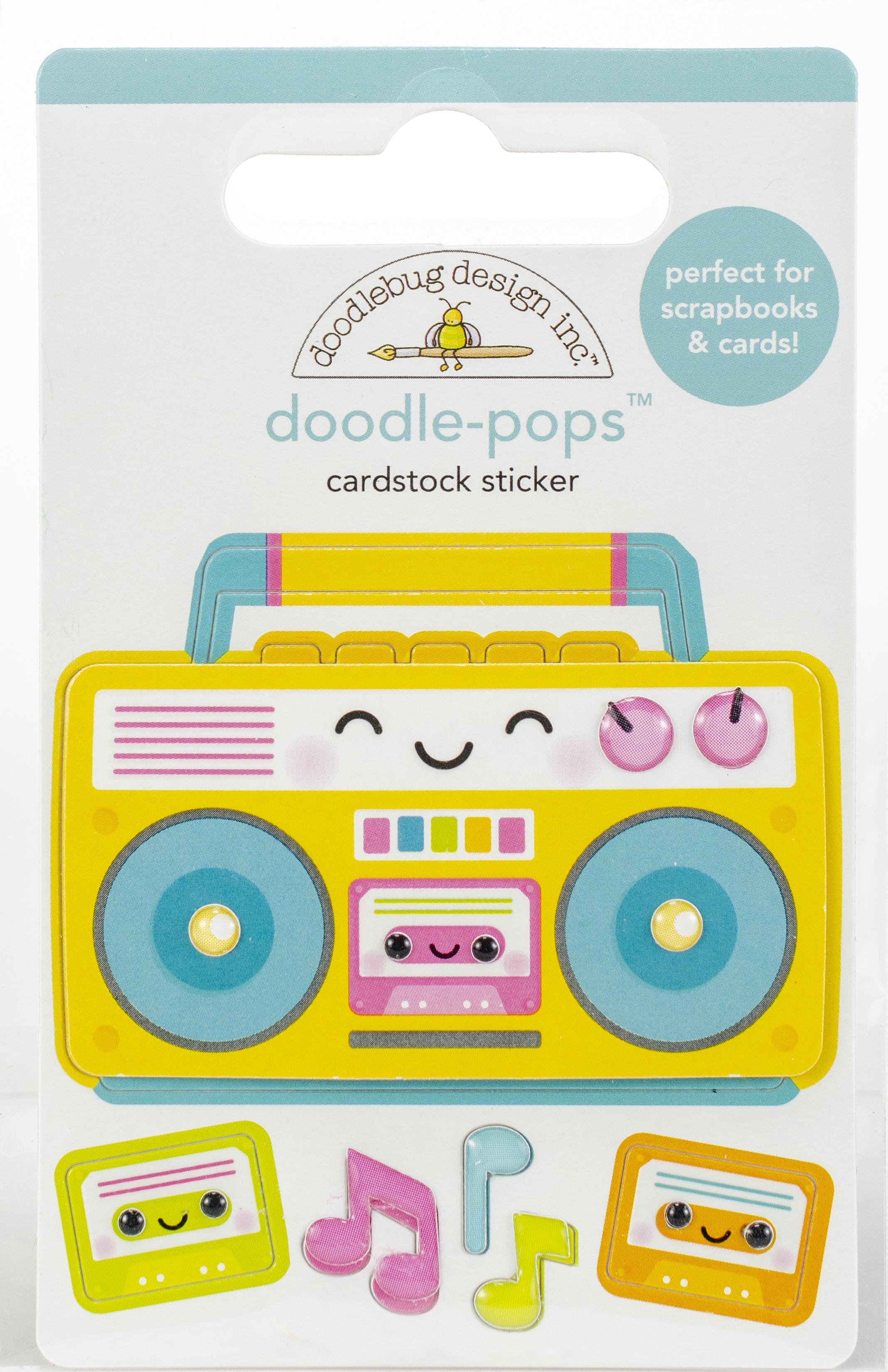 Doodlebug Doodle-Pops 3D Stickers-Boom Box