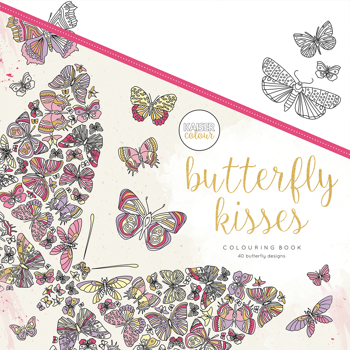 KaiserColour Perfect Bound Coloring Book 9.75X9.75-Butterfly Kisses