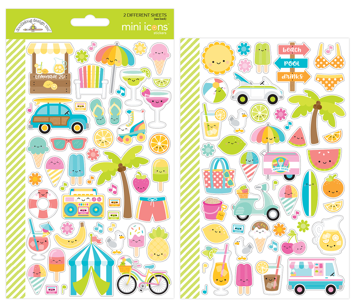 Dooblebug Mini Cardstock Stickers 2/Pkg-Sweet Summer Icons