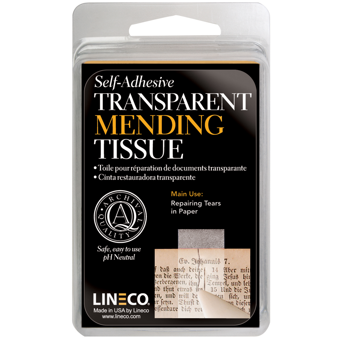 Lineco Self-Adhesive Book Mending Tissue-Transparent .5X12'