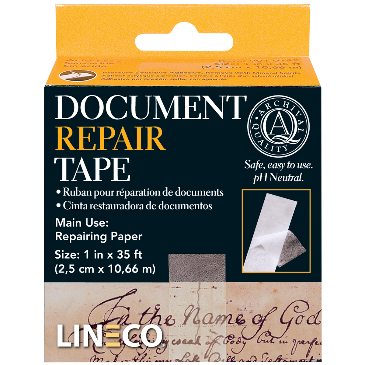 Lineco Self-Adhesive Document Repair Tape-Transparent 1X35'