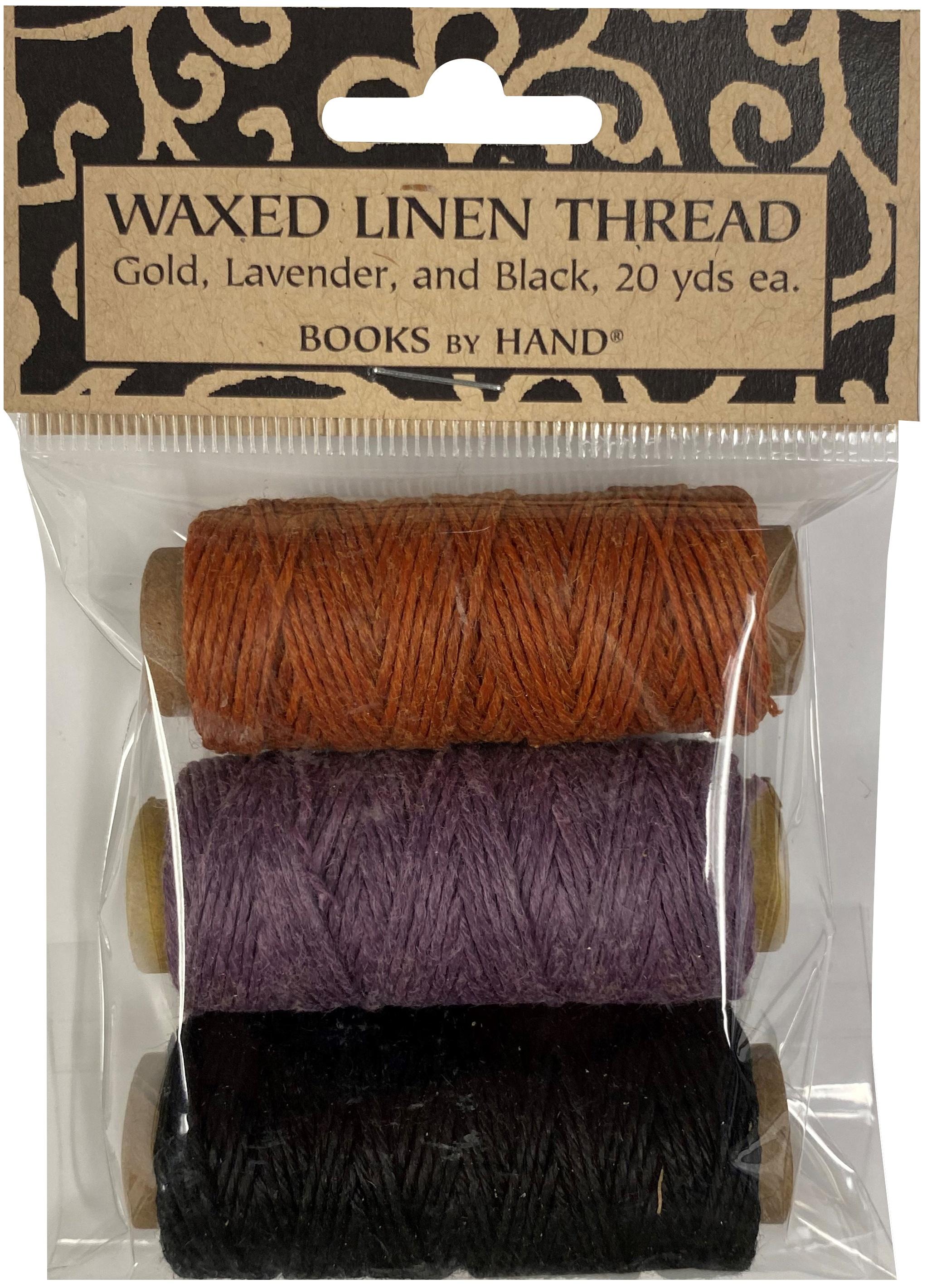 Lineco Waxed Linen 5 Ply Thread 3/Pkg-Lavender, Orange-Gold, Black; 20yd Each
