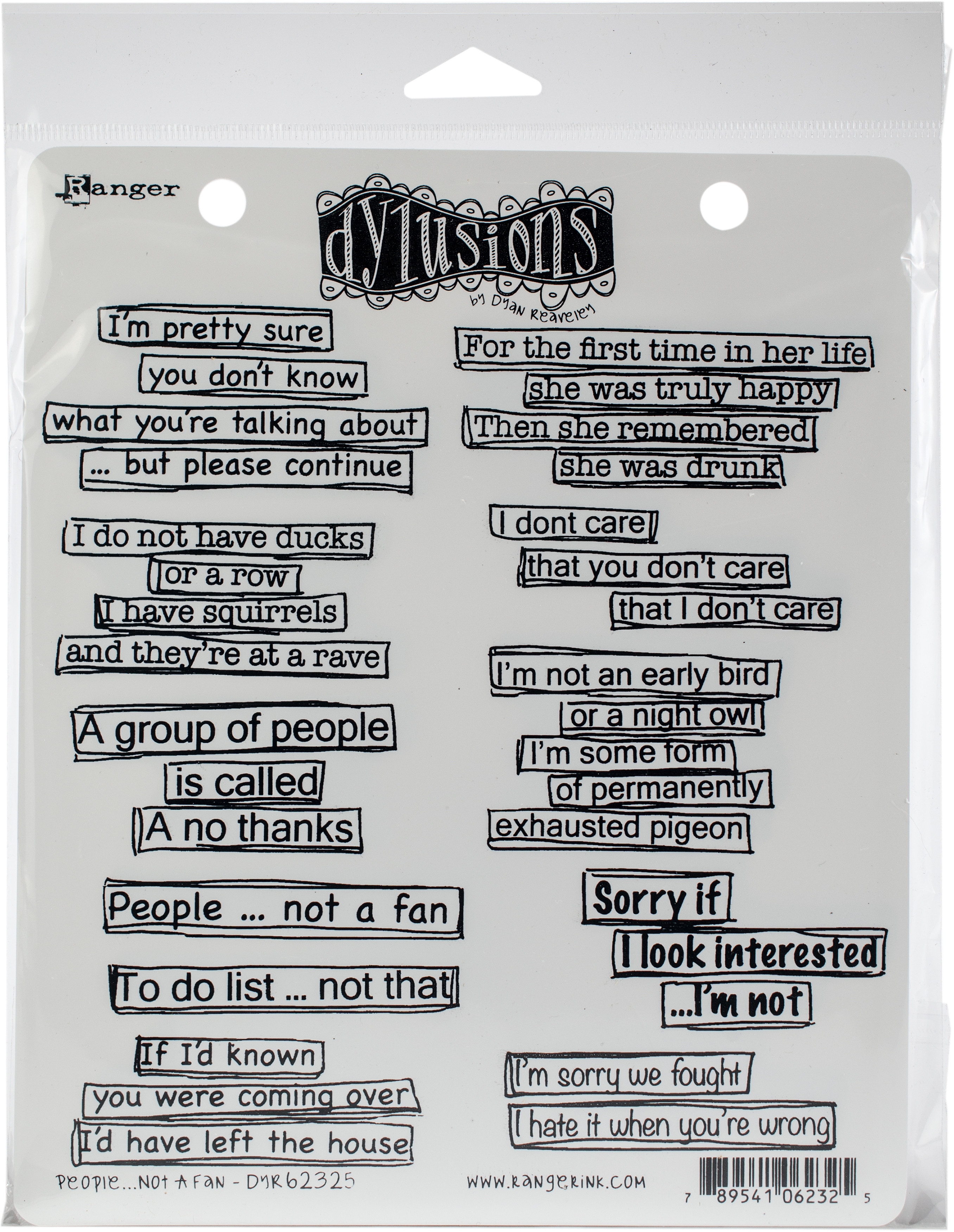 Dyan Reaveley's Dylusions Cling Stamp Collections 8.5X7-People...Not A Fan