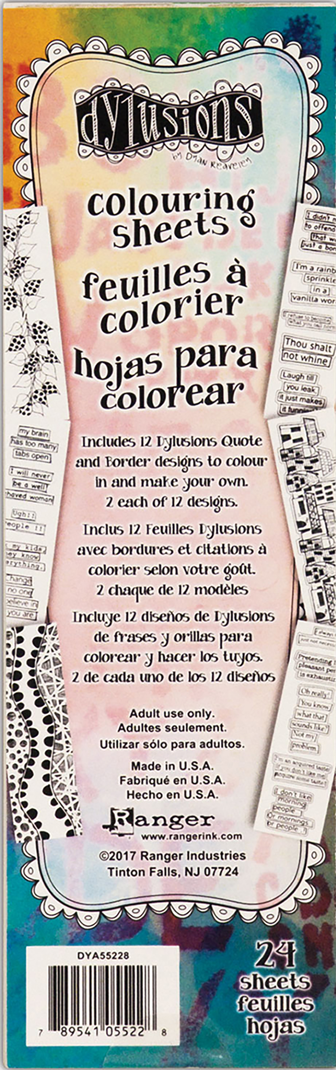 Dyan Reaveley's Dylusions Coloring Sheets Borders & Quotes