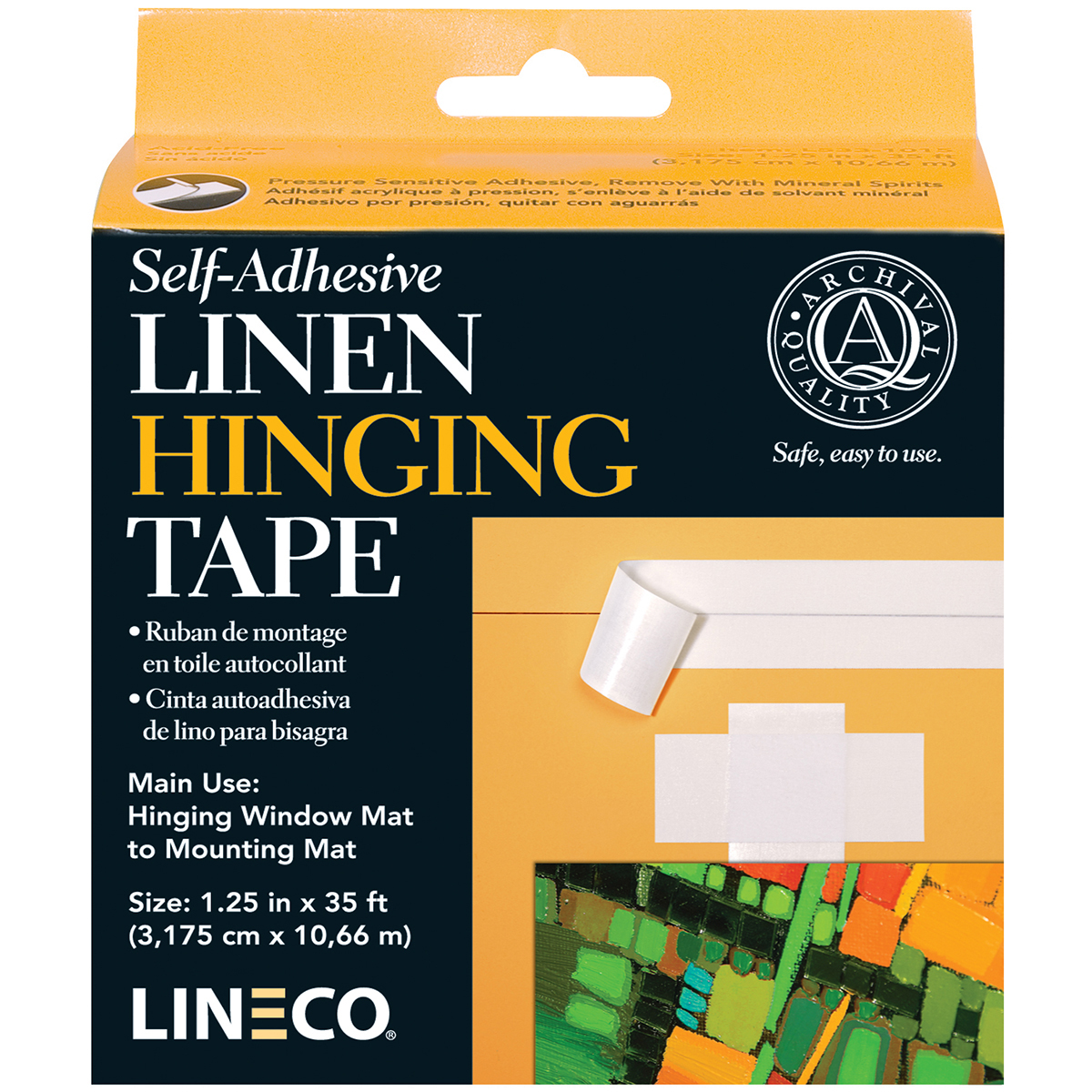 Lineco Self-Adhesive Linen Hinging Tape-White 1.25X35'