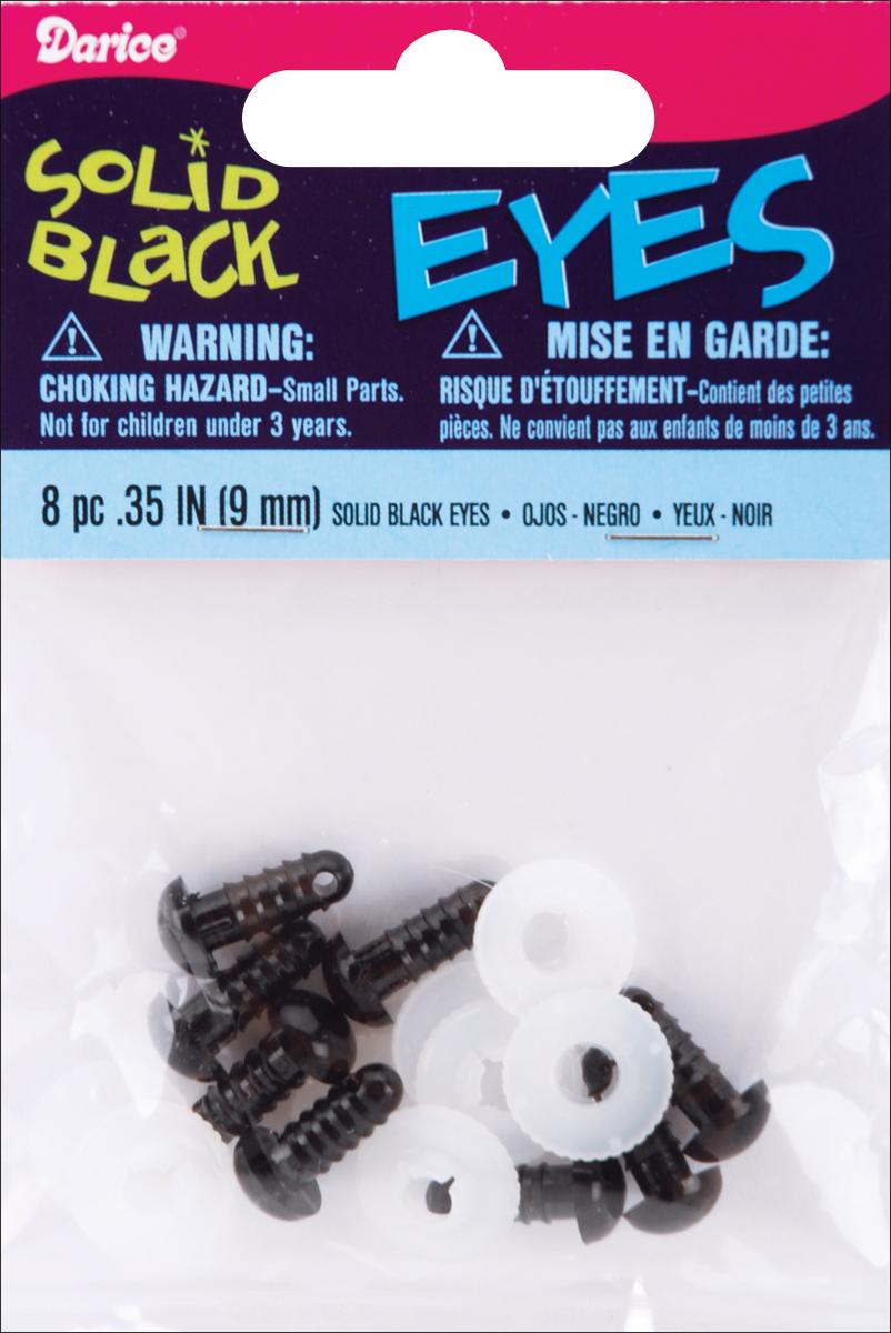 Shank Back Solid Eyes 9mm 8/Pkg-Black