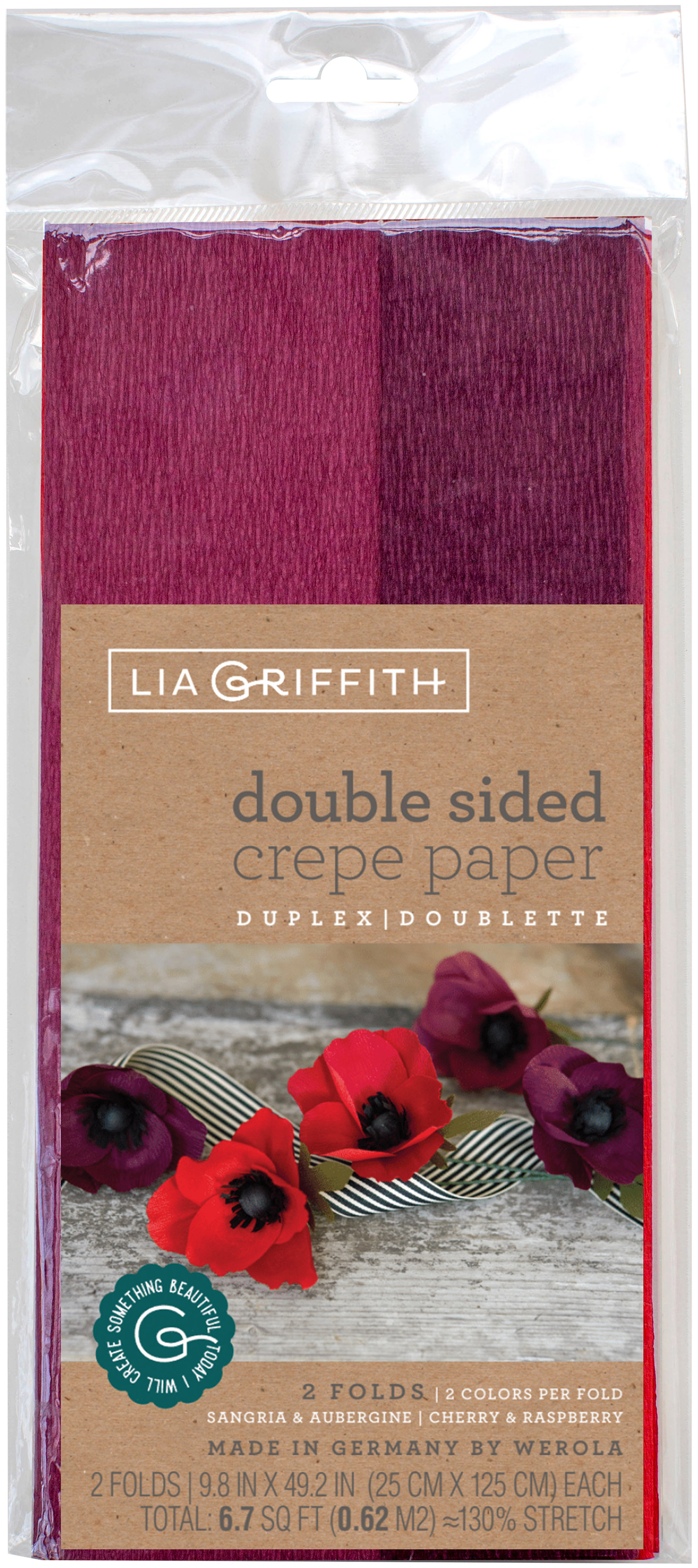 Double-Sided Extra Fine Crepe Paper 2/Pkg-Sangria/Aubergine & Cherry/Raspberry