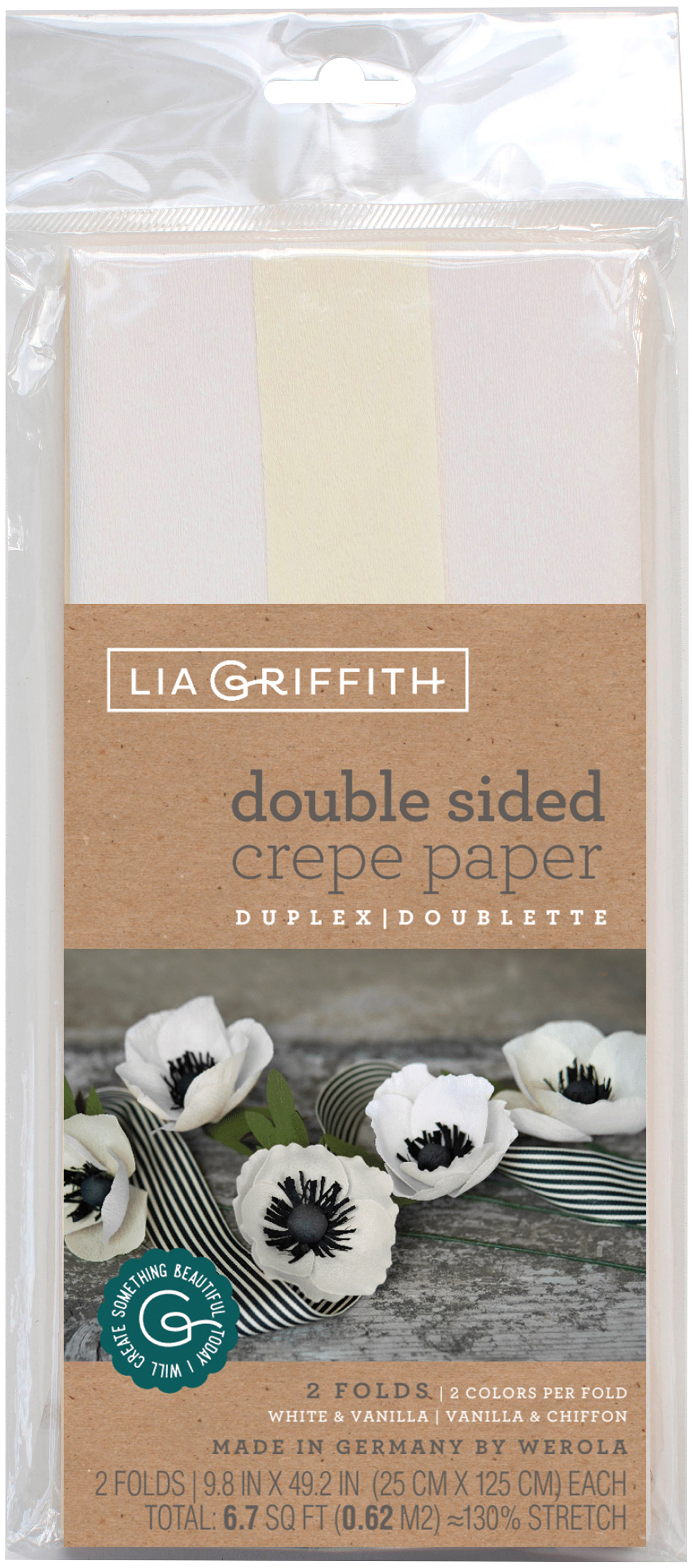 Double-Sided Extra Fine Crepe Paper 2/Pkg-White/Vanilla & Vanilla/Chiffon
