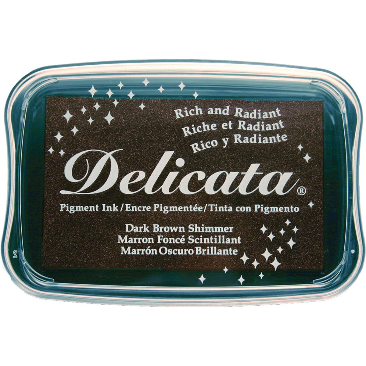 Delicata Pigment Ink Pad-Dark Brown Shimmer