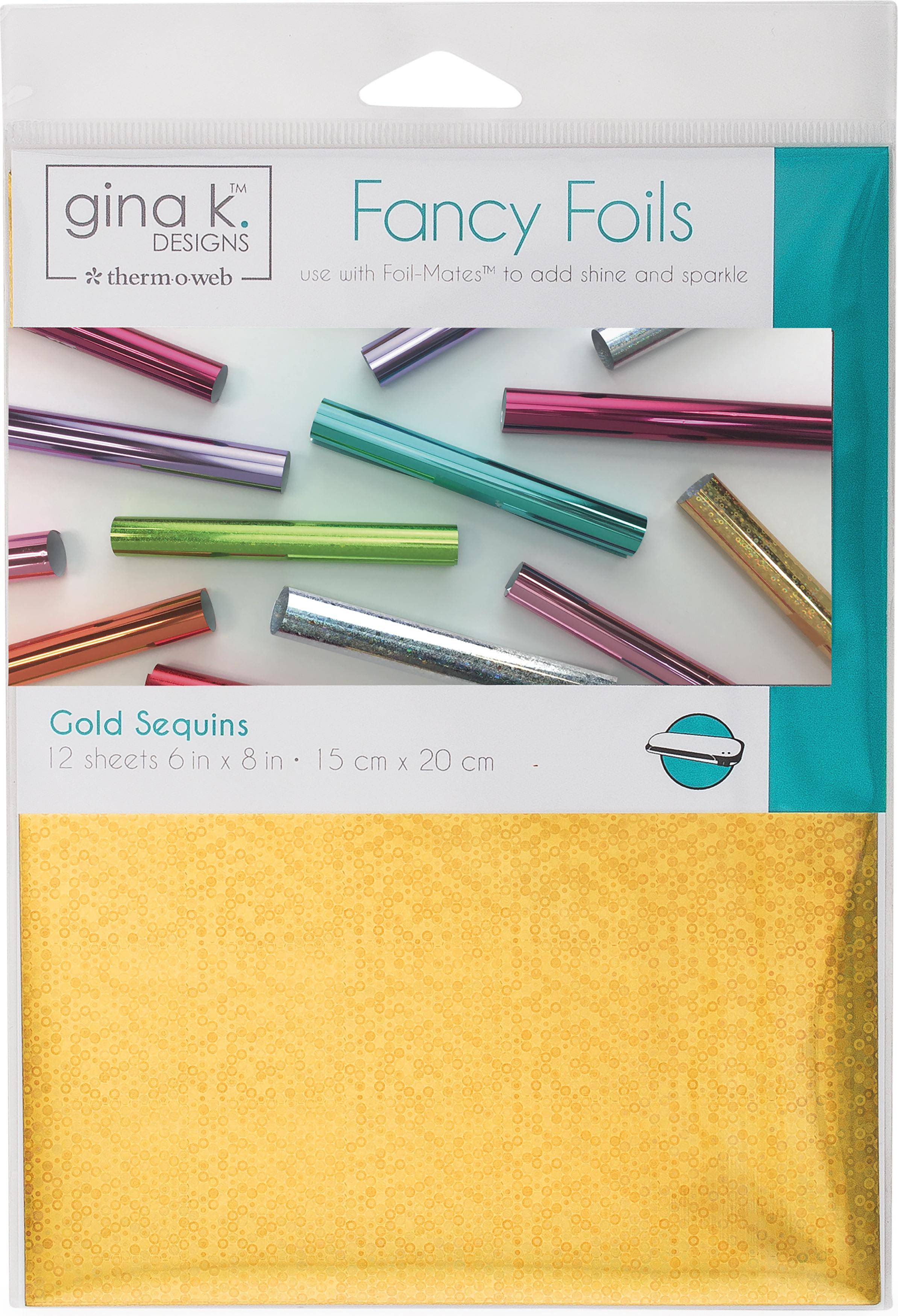 Gina K Designs Fancy Foil 6X8 12/Pkg-Gold Sequins