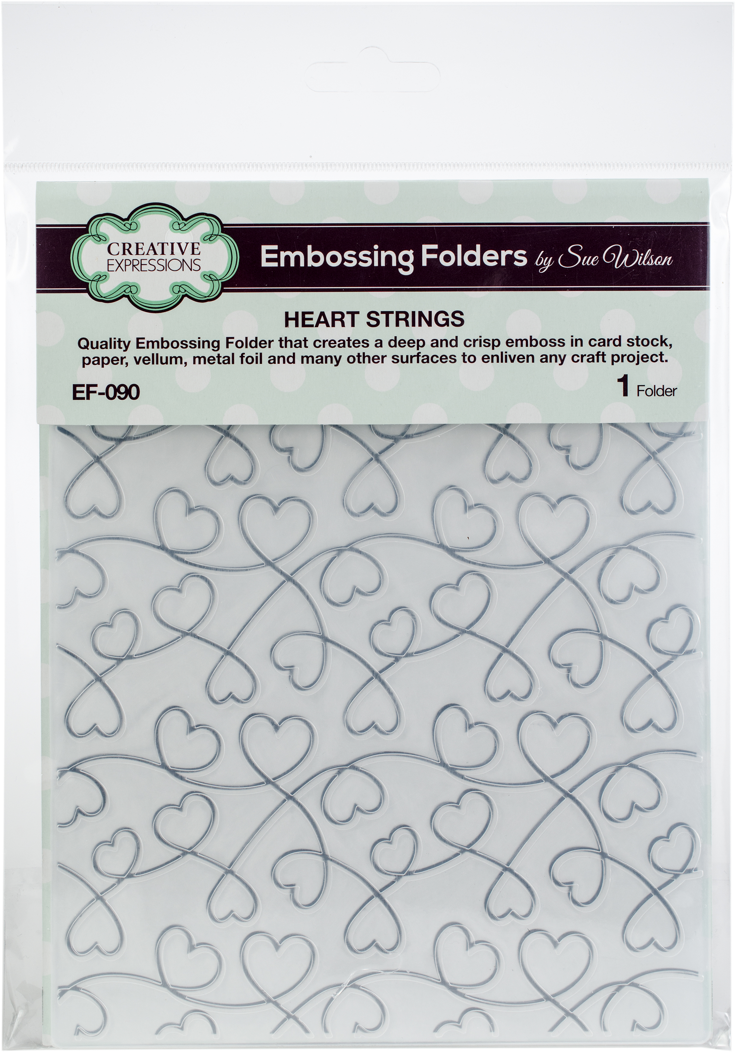 Creative Expressions Embossing Folder By Sue Wilson-Heart Strings